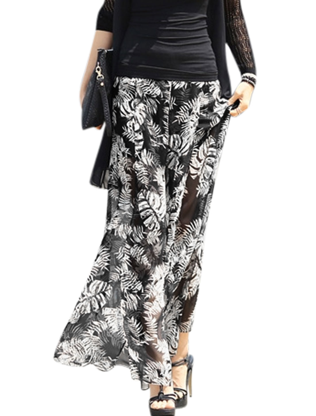 Women Leaves Pattern Split Sides Partially Lined Wide Leg Palazzo Pants Black XS