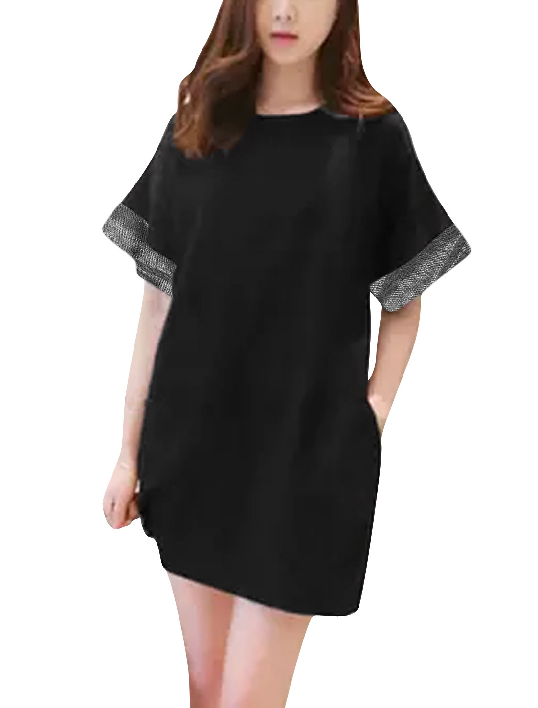 Women Round Neck Paneled Cuffs Short Sleeves Casual T-Shrit Dress Black XS