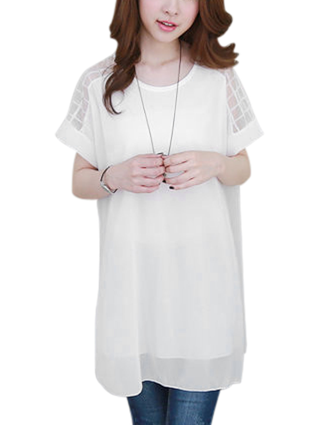 Women Mesh Panel Short Sleeves Fully Lined Tunic Shirts White S