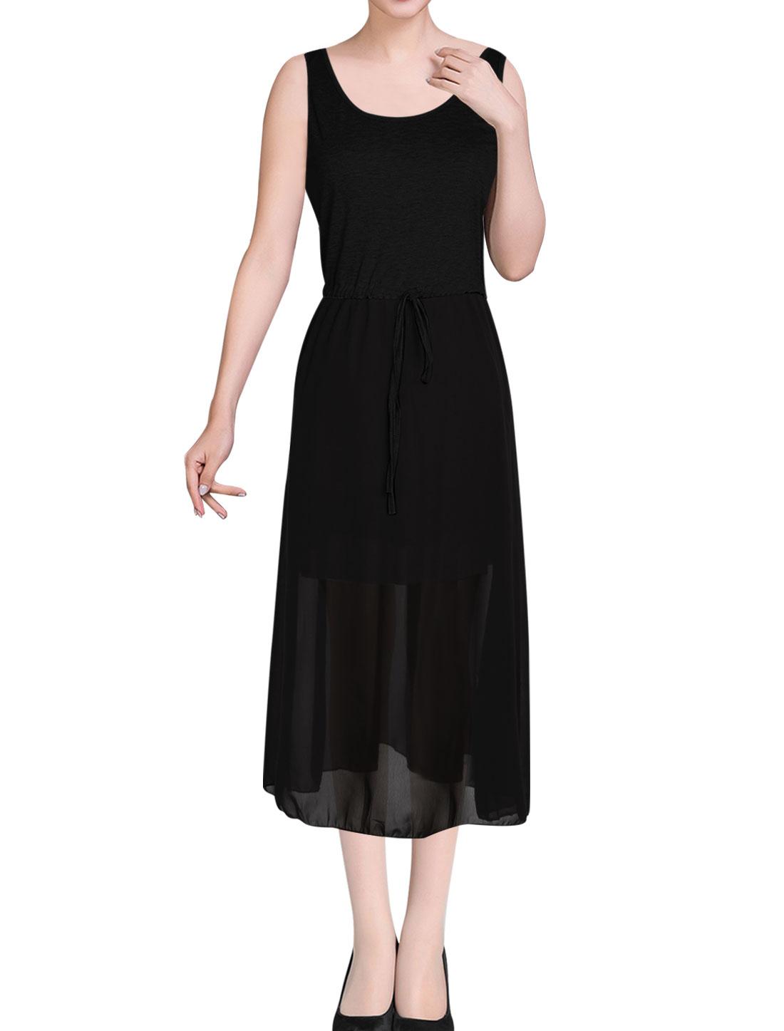 Ladies Scoop Neck Sleeveless Drawstring Detail Chiffon Dress Black XS