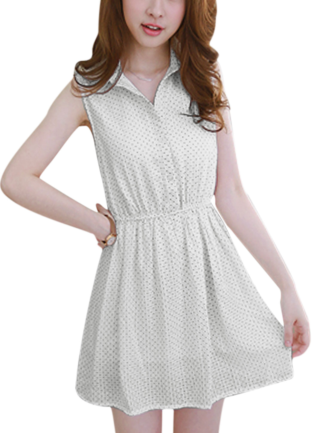 Woman Dots Prints Sleeveless Button Upper Elastic Waist Shirt Dress White M