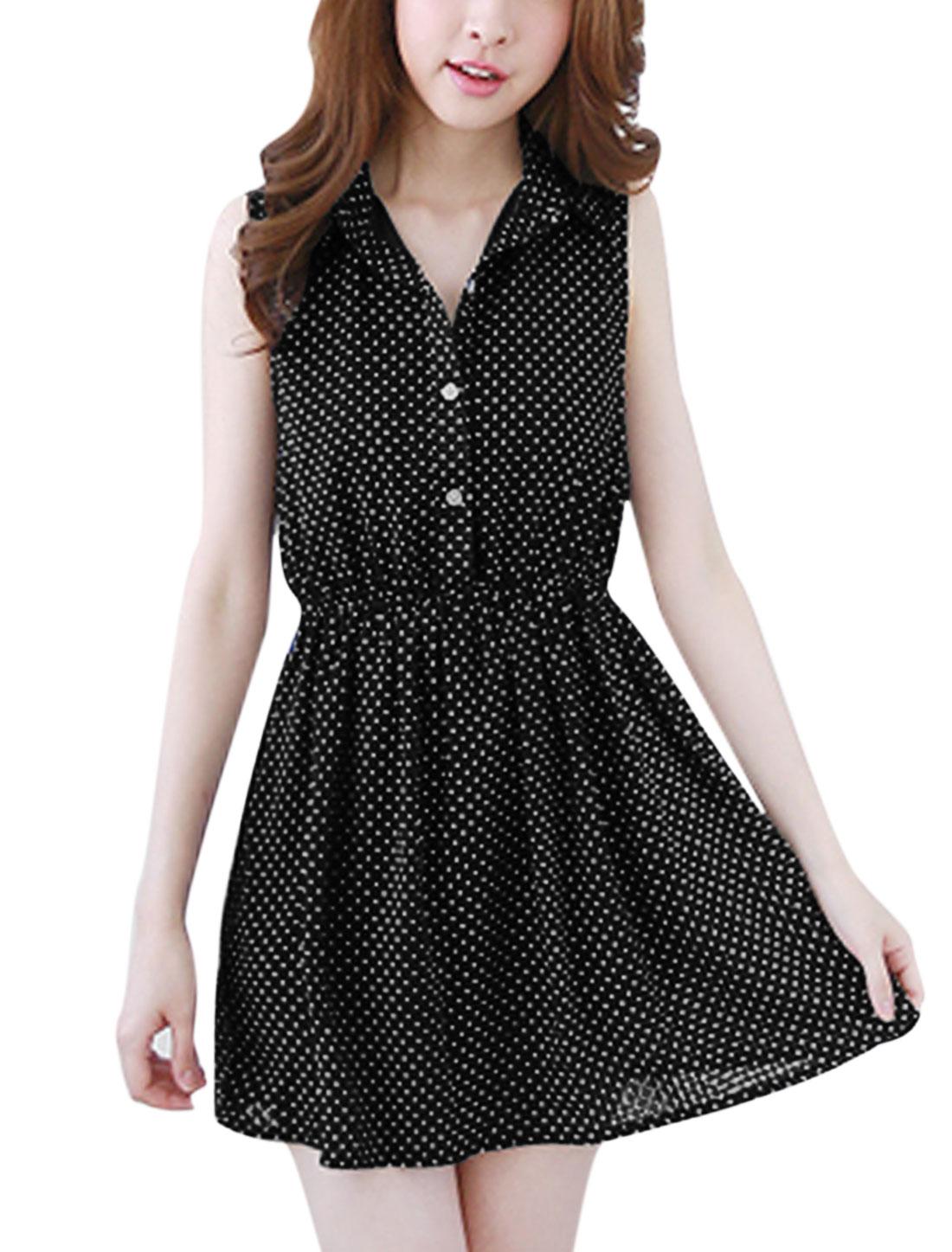 Women Dots Prints Slipover Button Upper Elastic Waist Shirt Dress Black M
