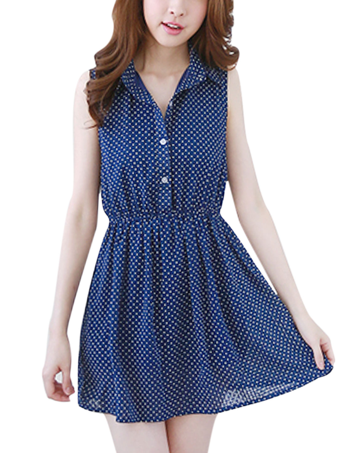 Woman Dots Prints Sleeveless Elastic Waist Shirt Dress Dark Blue M