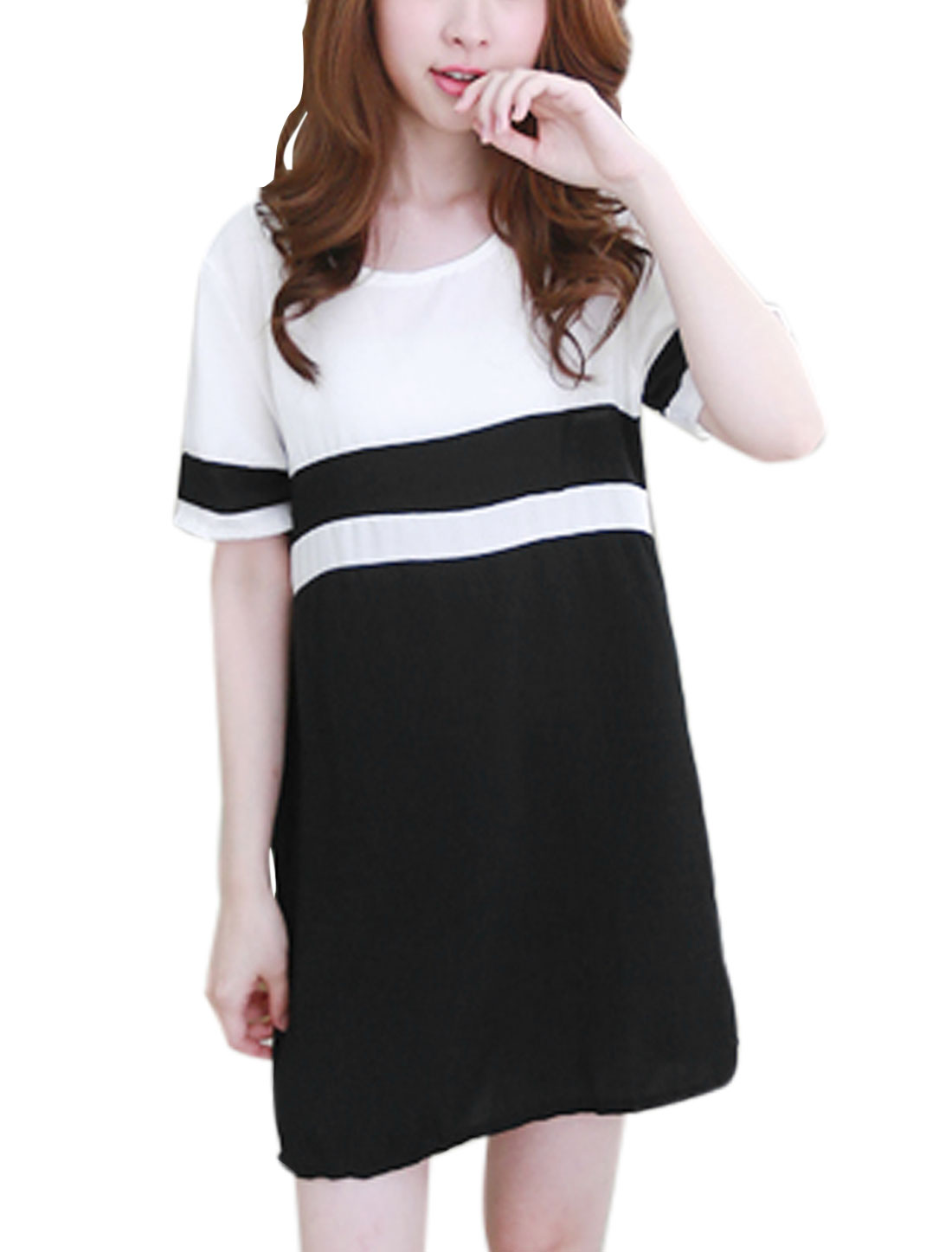 Woman Color Block Round Neck Short Sleeves Tunic Dress Black White S