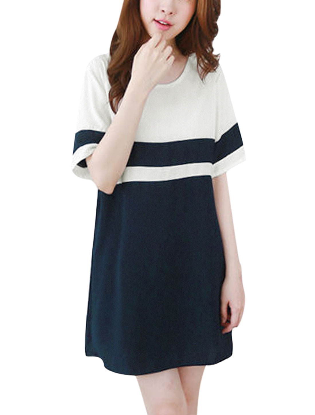 Woman Color Block Round Neck Short Sleeves Unlined Tunic Dress Dark Blue White S