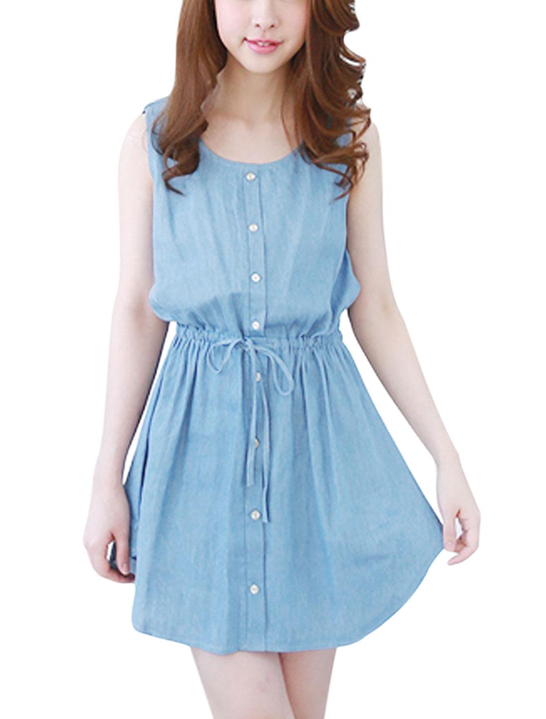 Women Round Neck Buttons Decor Sleeveless Casual A Line Dress Light Blue S