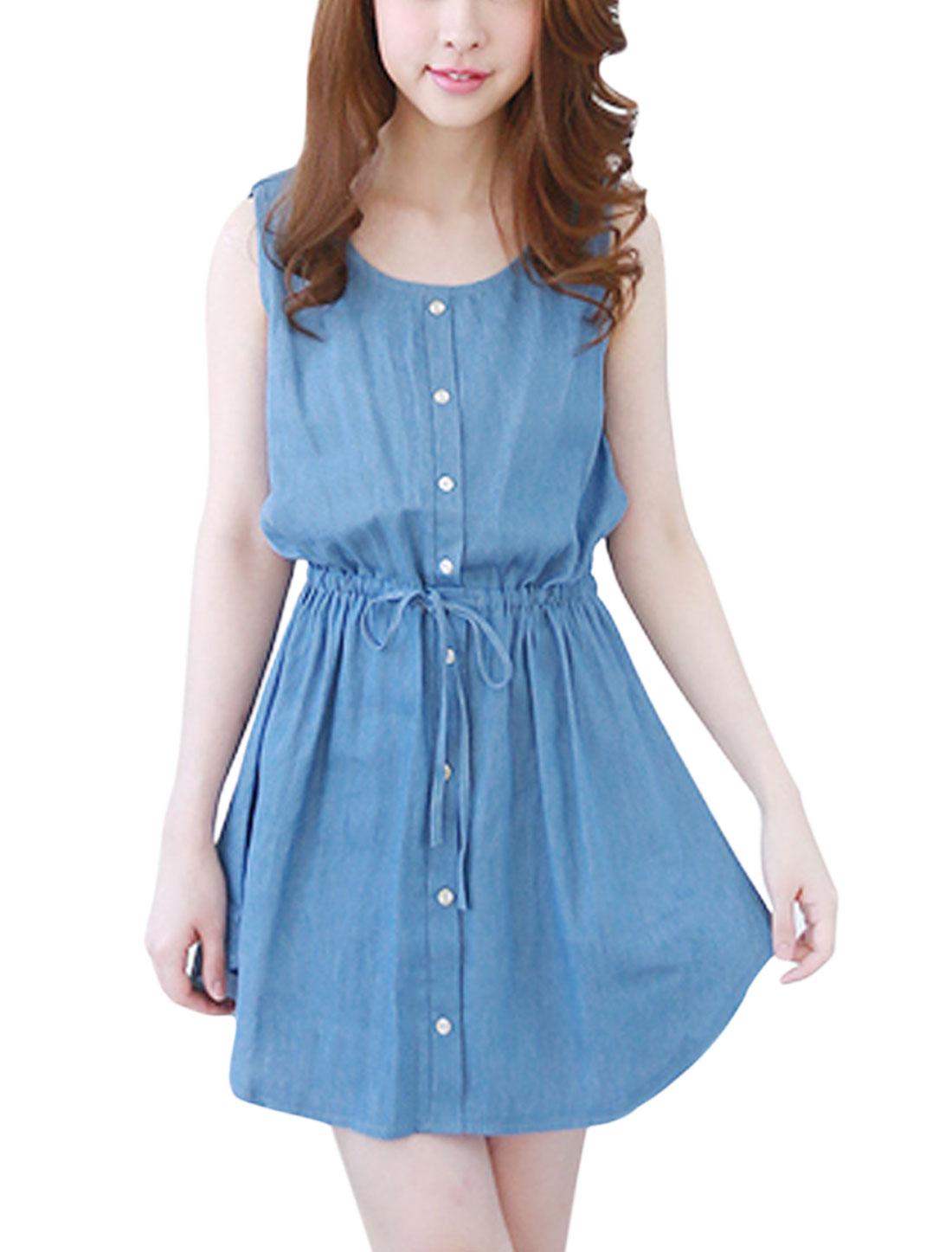 Ladies Drawstring Waist Buttons Decor Sleeveless Dresses Blue S