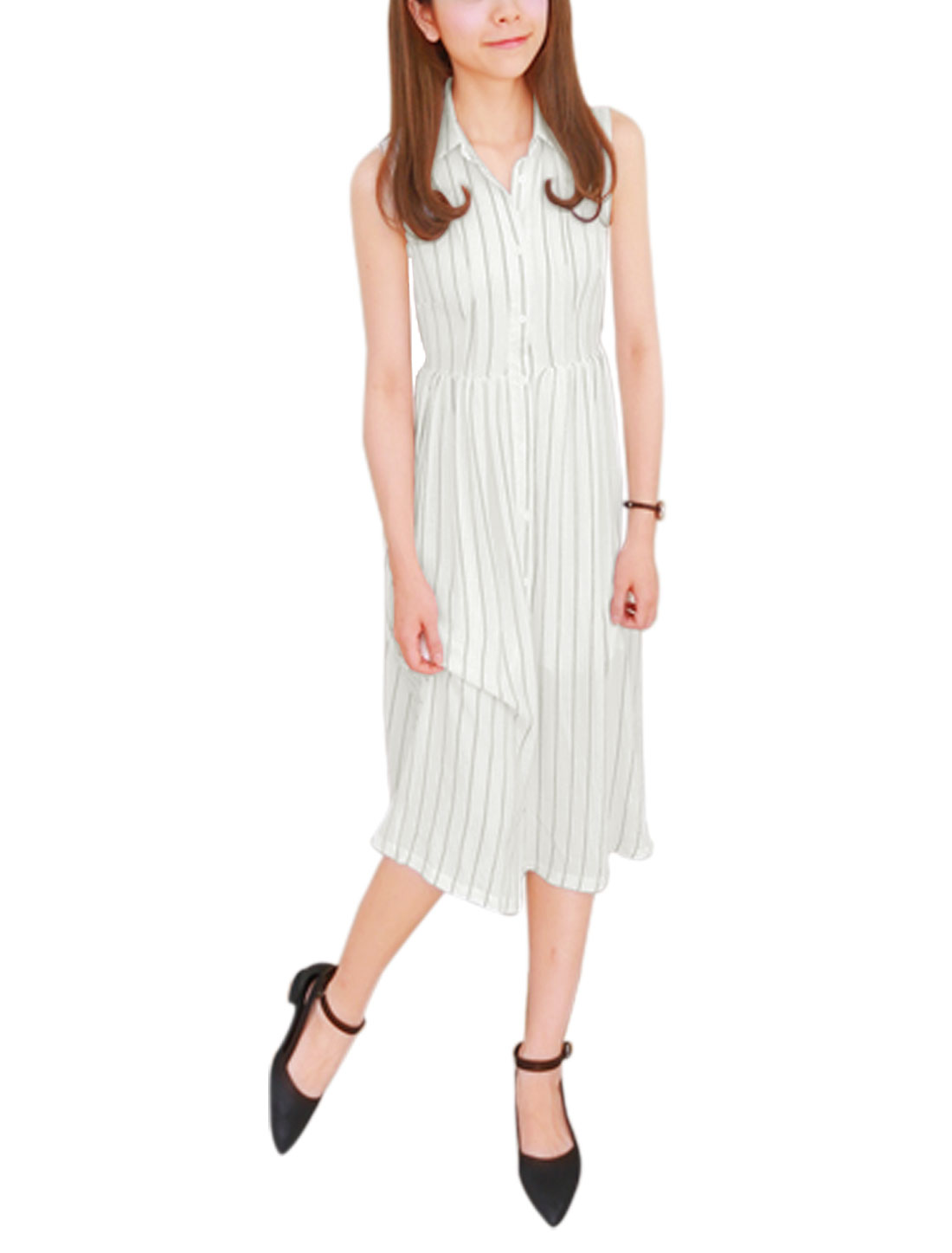 Woman Vertical Stripes Sleeveless Button Down Unlined Shirt Dress White S
