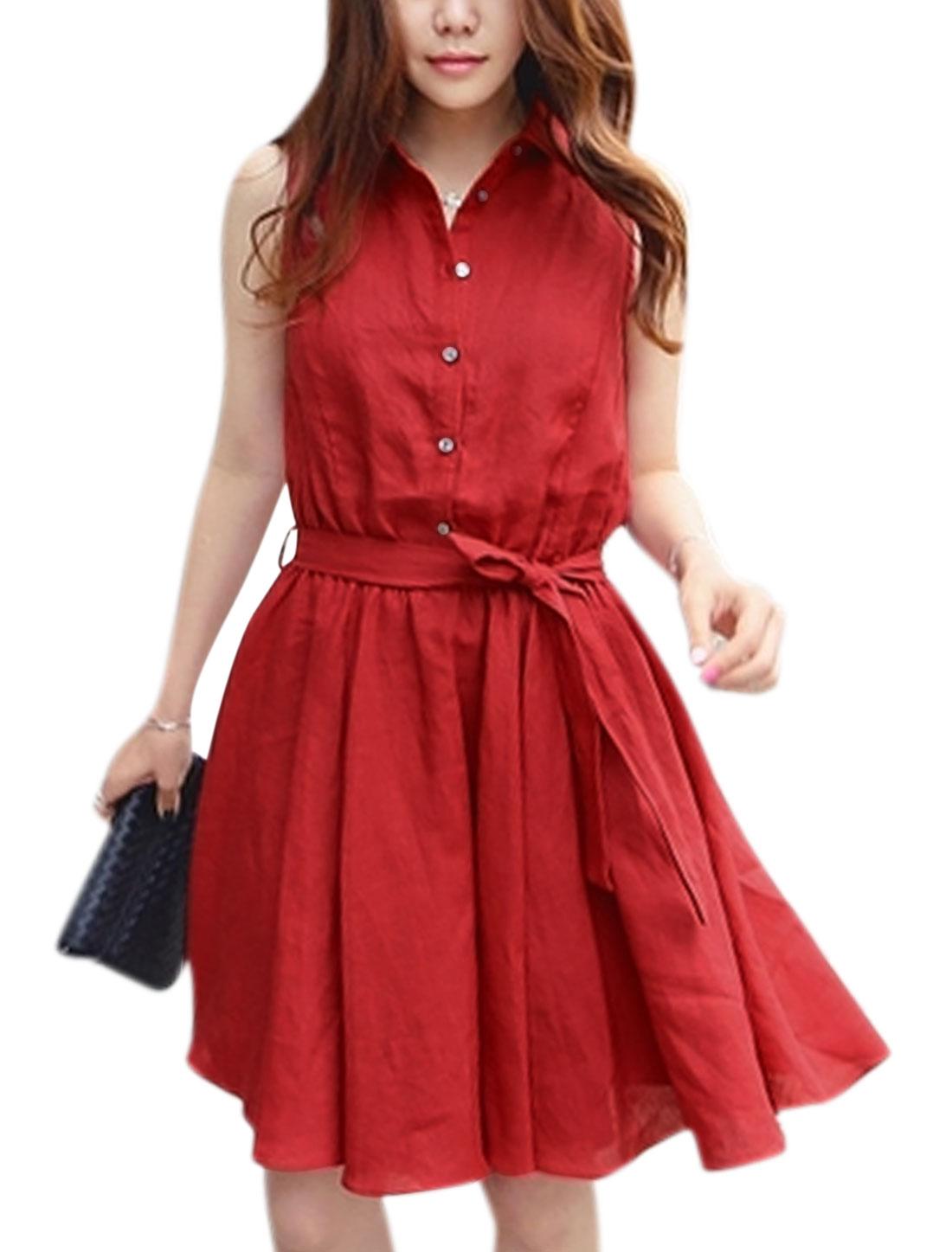 Women Sleeveless Button Upper Unlined Shirt Dress w Waist Belt Red M