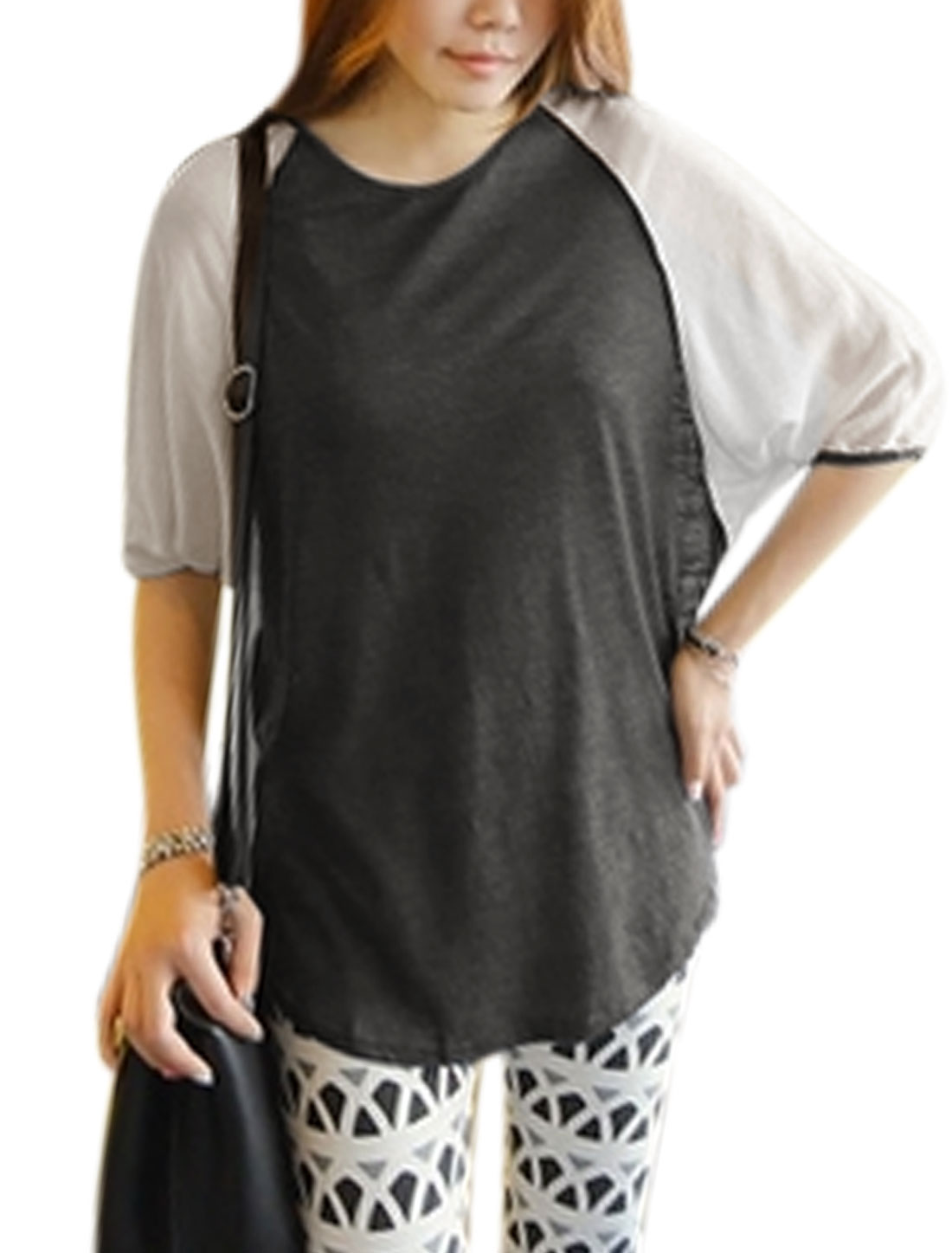 Woman Chiffon Panel Half Batwing Sleeves Round Neck Tunic Top Dark Gray White