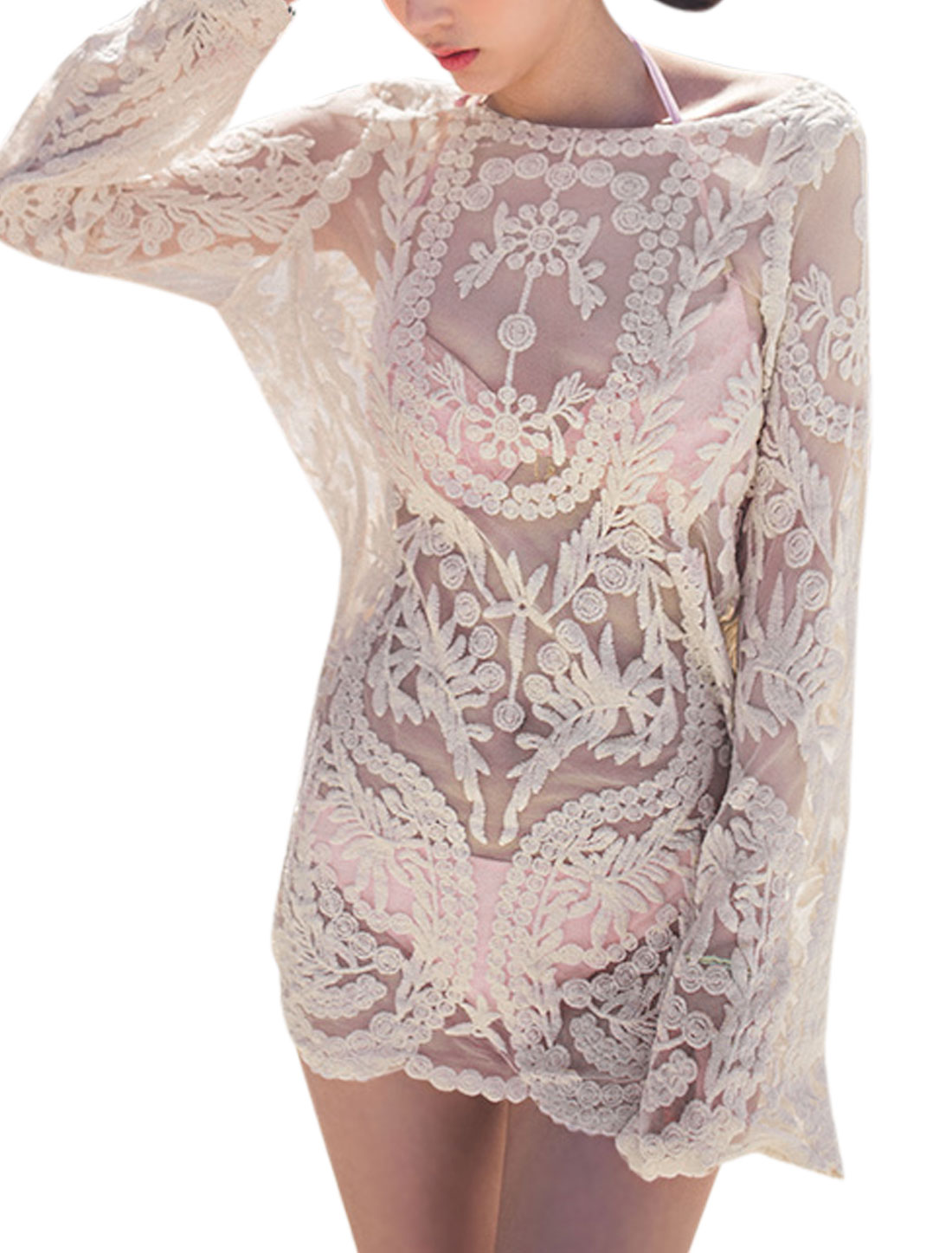 Woman Floral Stitching Long Sleeves Scalloped Hem Lace Tunic Top Beige XS