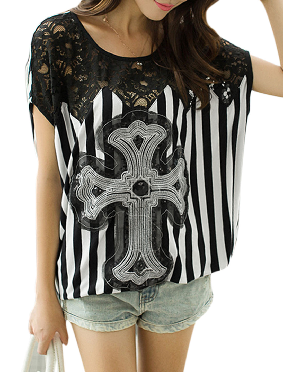 Ladies Round Neck Stripes Sequined Panel Casual Tunic Top White Black S