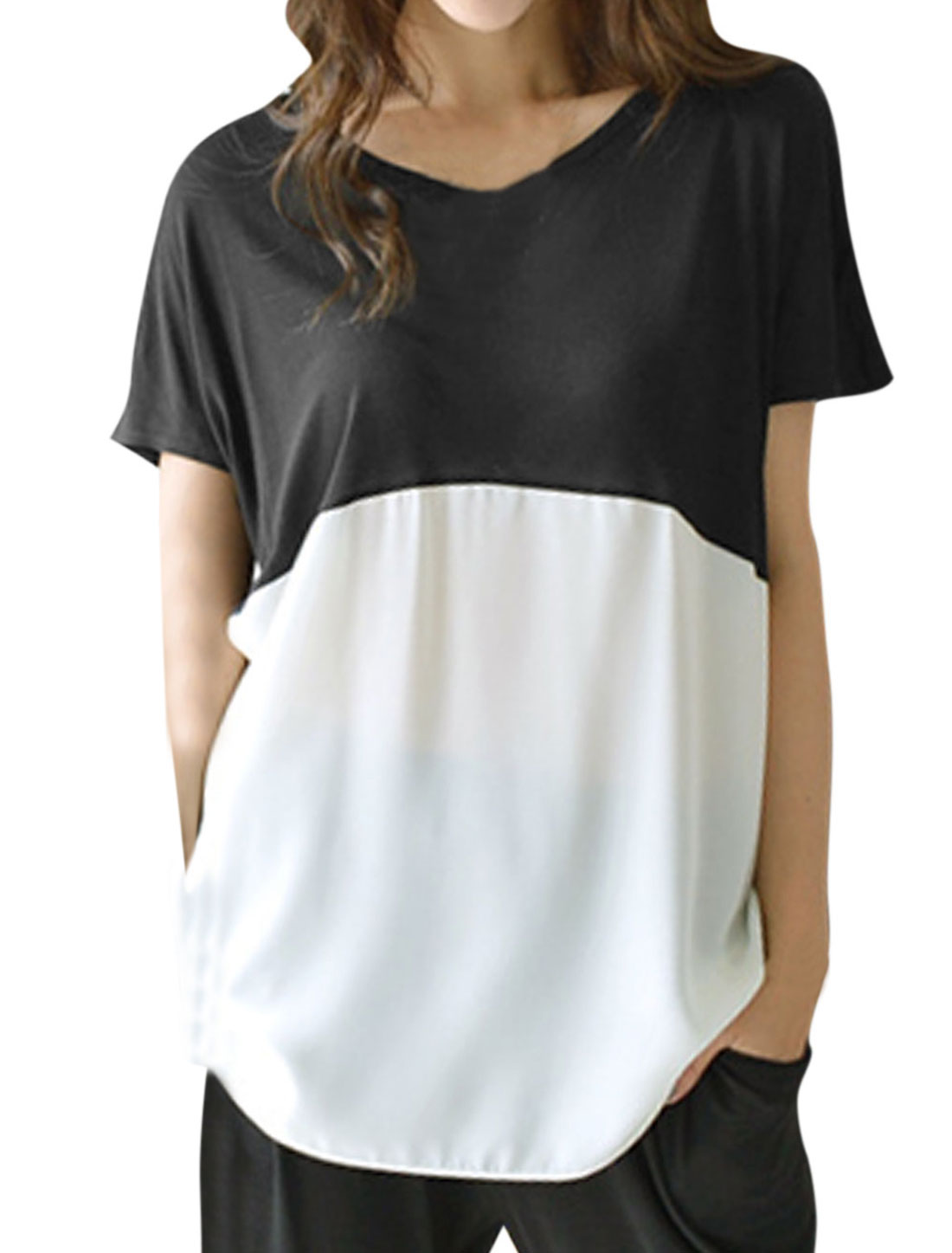 Woman Contrast Color Dropped Shoulder Chiffon Panel Tunic Top Black White S