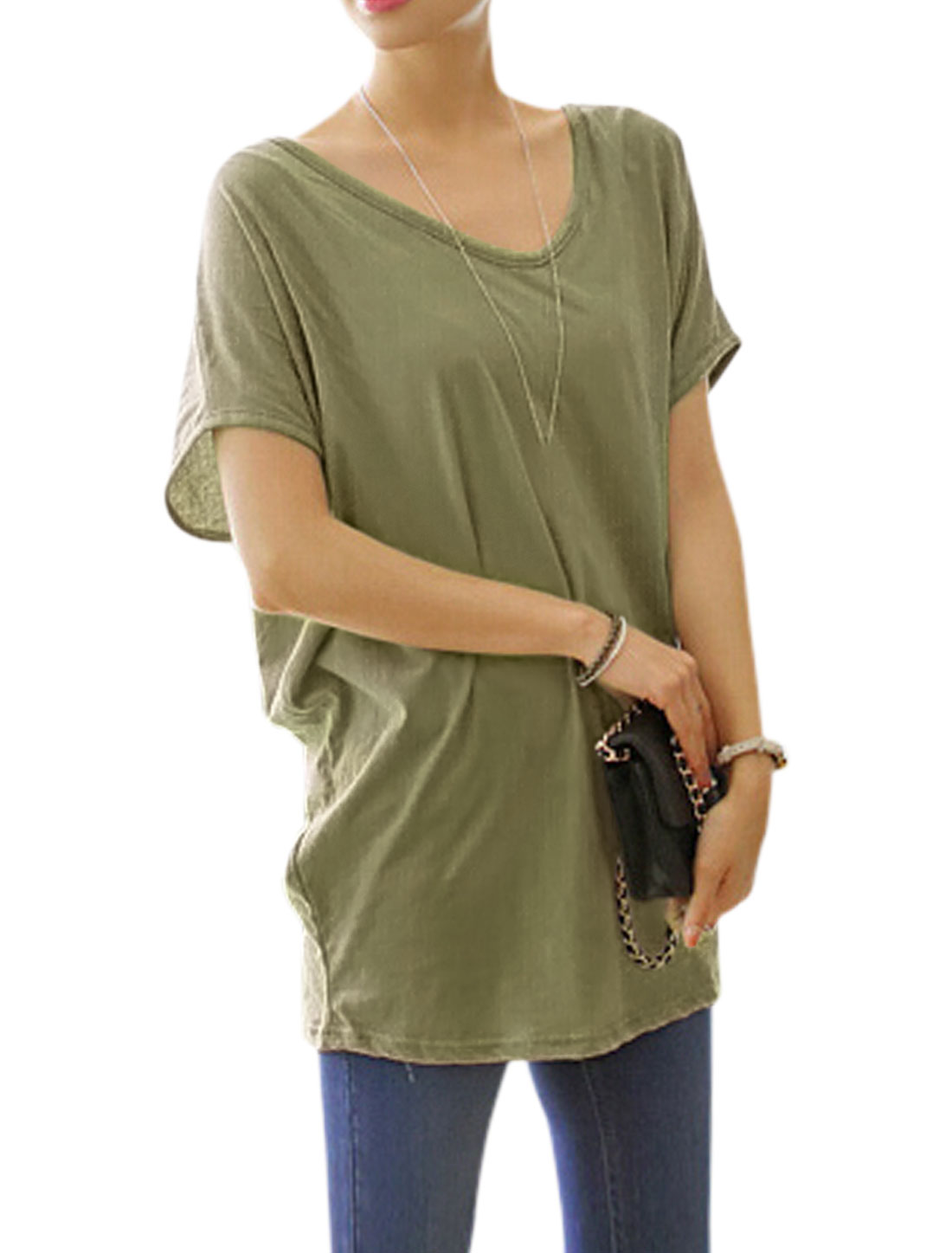 Woman Crochet Design Back Scoop Neck Short Sleeves Tunic Top Army Green XS