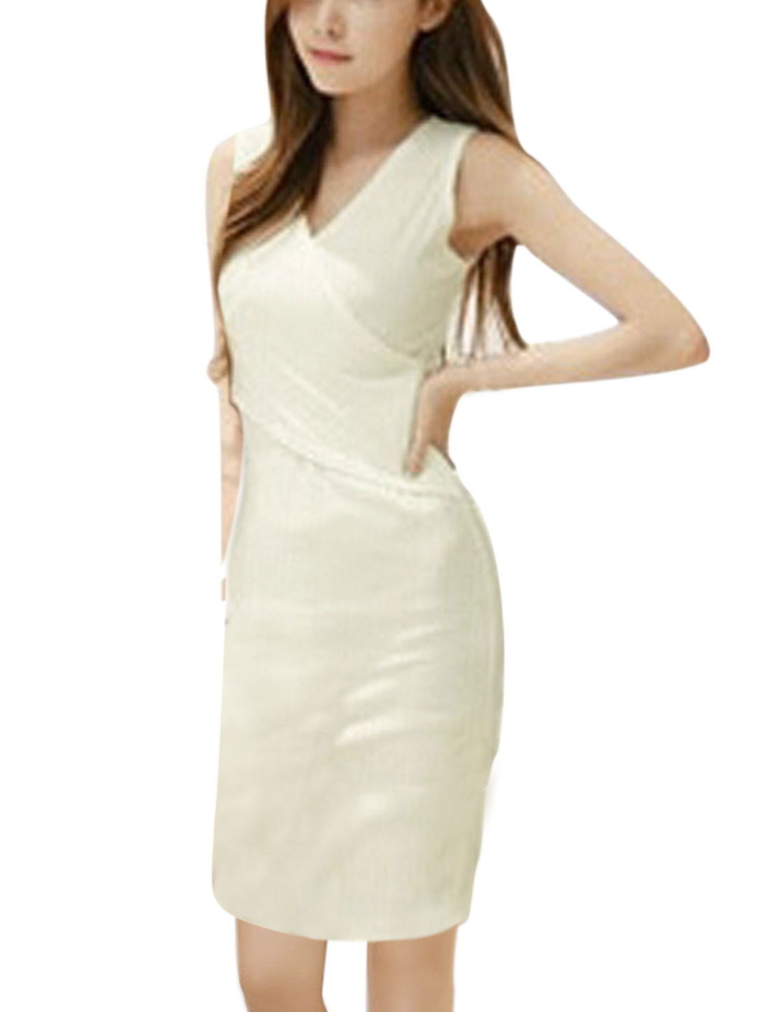 Women Crossover V Neck Sleeveless Unlined Sheath Dress White S