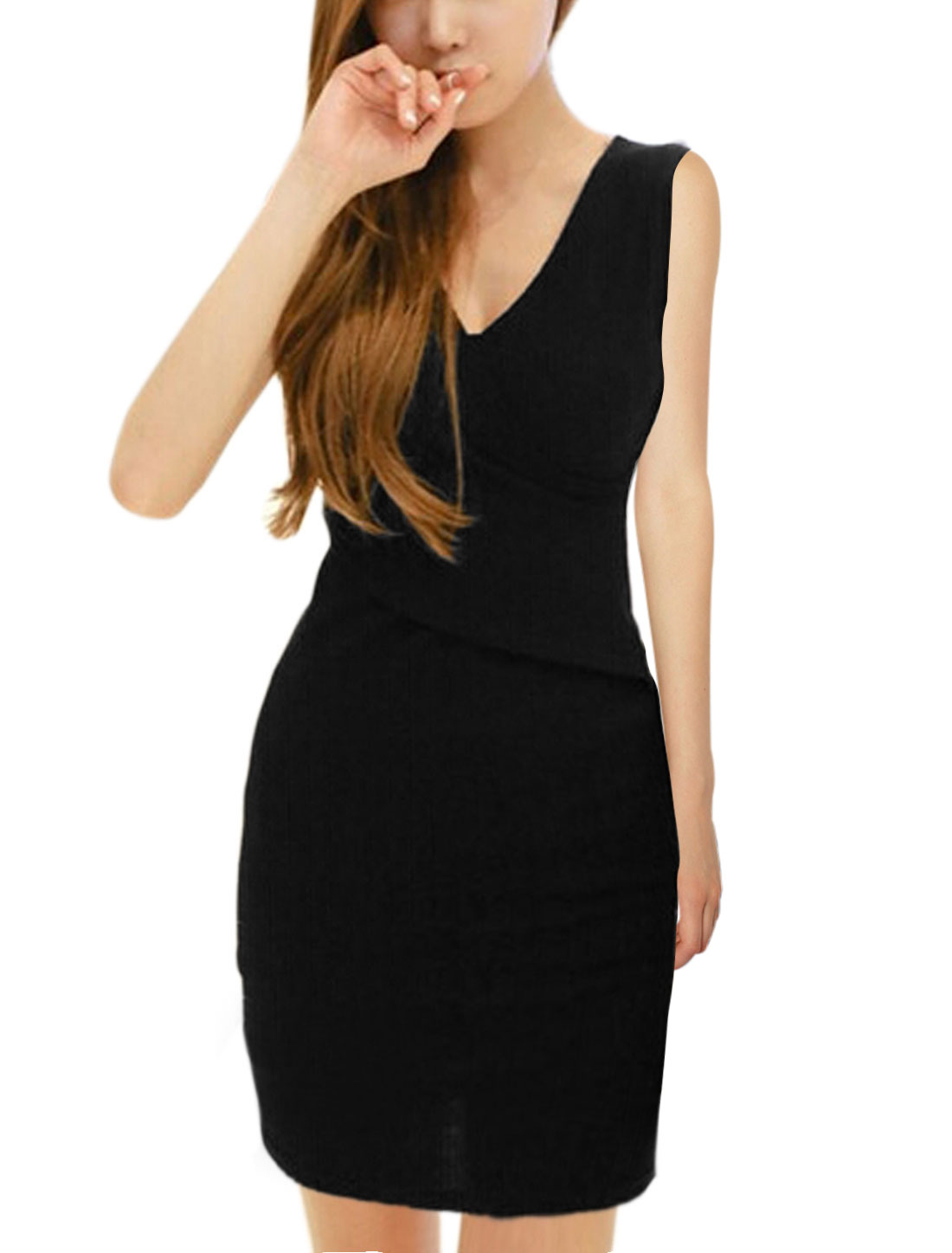 Ladies Crossover V Neck Sleeveless Wiggle Dress Black S