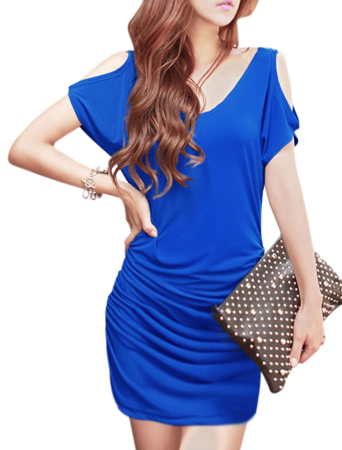 Woman Buckled Decor Cut Out Shoulder Shirred Sides Blouson Dress Blue S