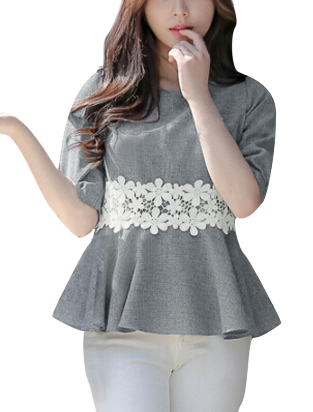 Women Elbow Sleeves Floral Design Peplum Tops Gray XS