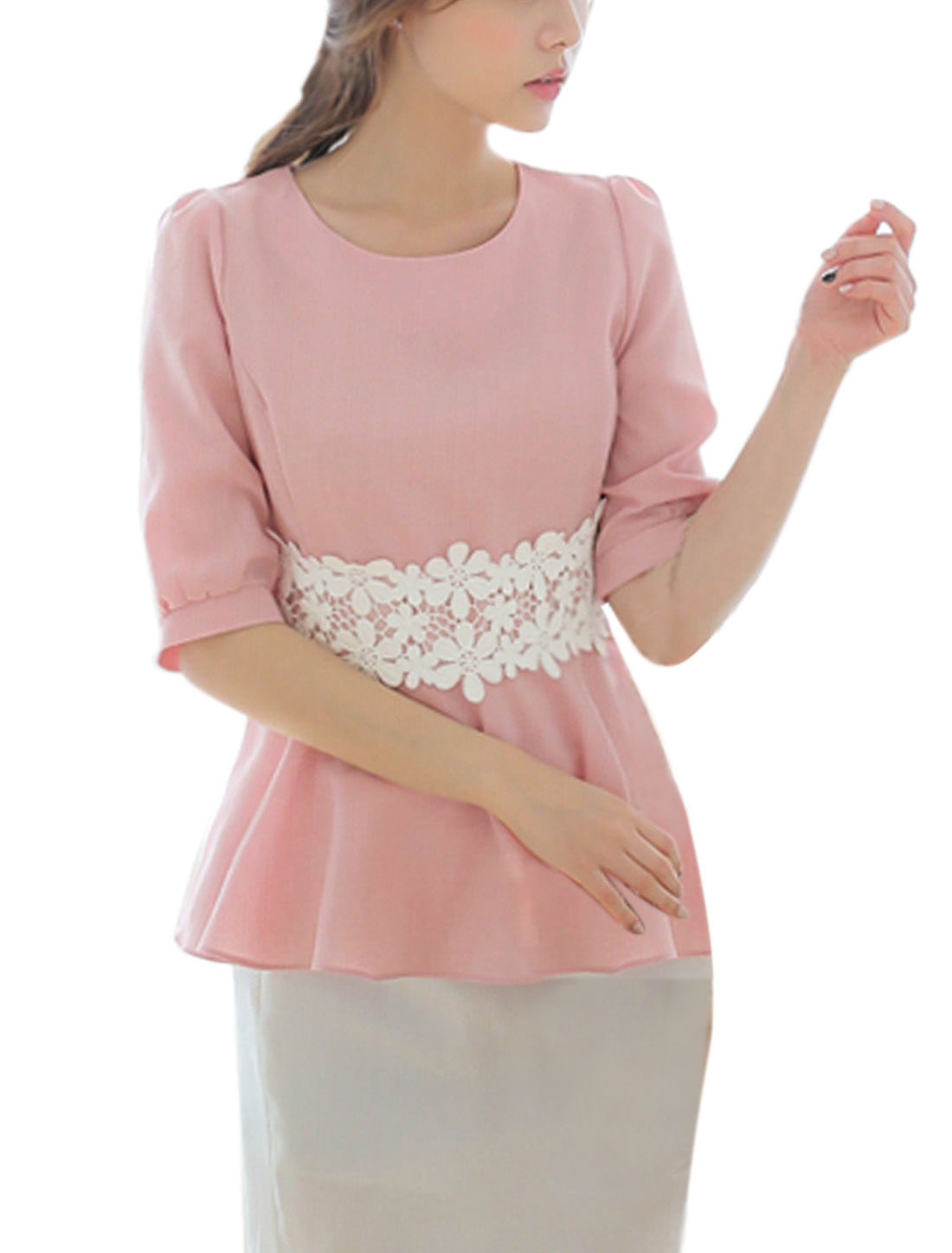 Ladies Floral Design Elbow Sleeves Round Neck Peplum Top Pink XS