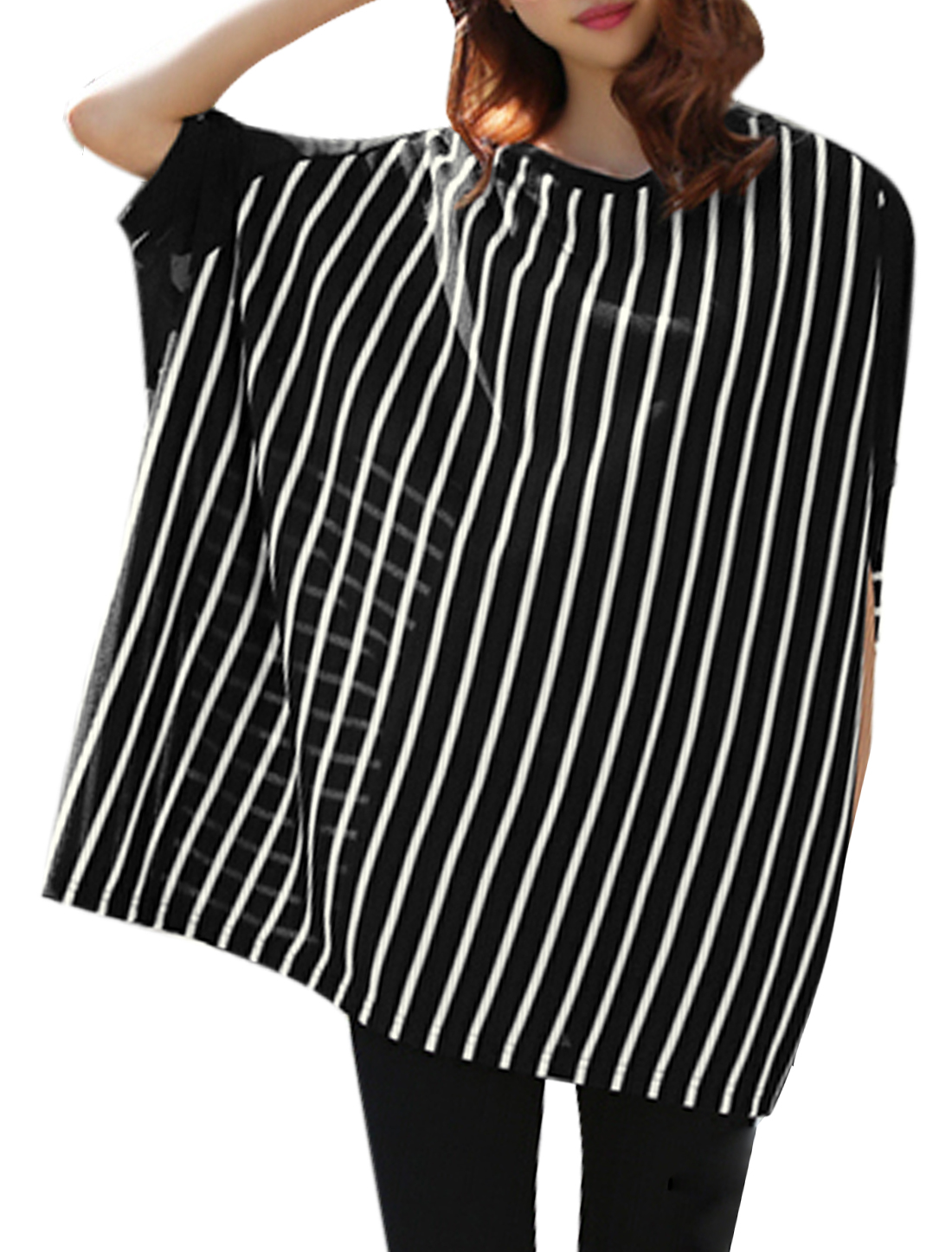 Women Chiffon Panel Elbow Batwing Sleeves Stripes Tunic Blouses Black White M