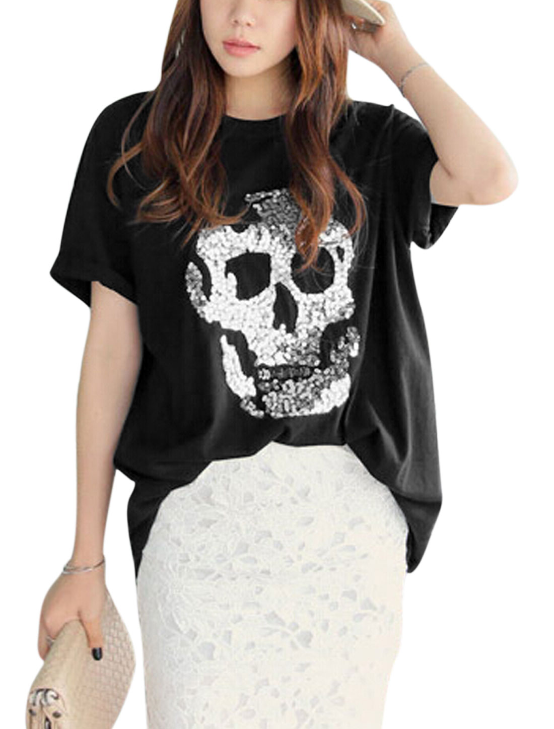 Women Sequined Skull Applique Short Sleeves Casual T-Shirts Black XS