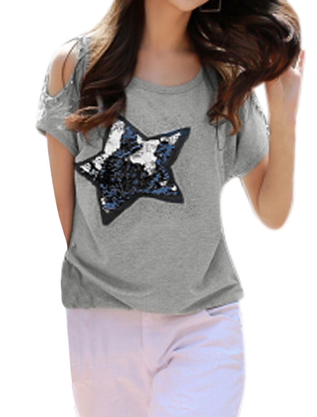 Woman Sequined Star Stitching Beaded Cut Out Shoulder Casual Top Light Gray M