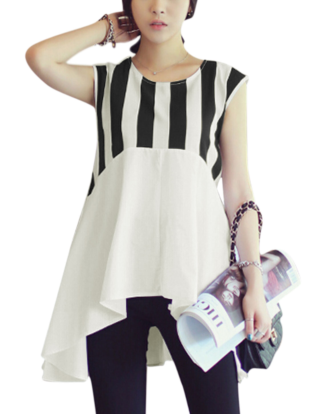 Women Vertical Stripes Asymmetric Hem Cap Sleeves Tunic Shirts Black White S