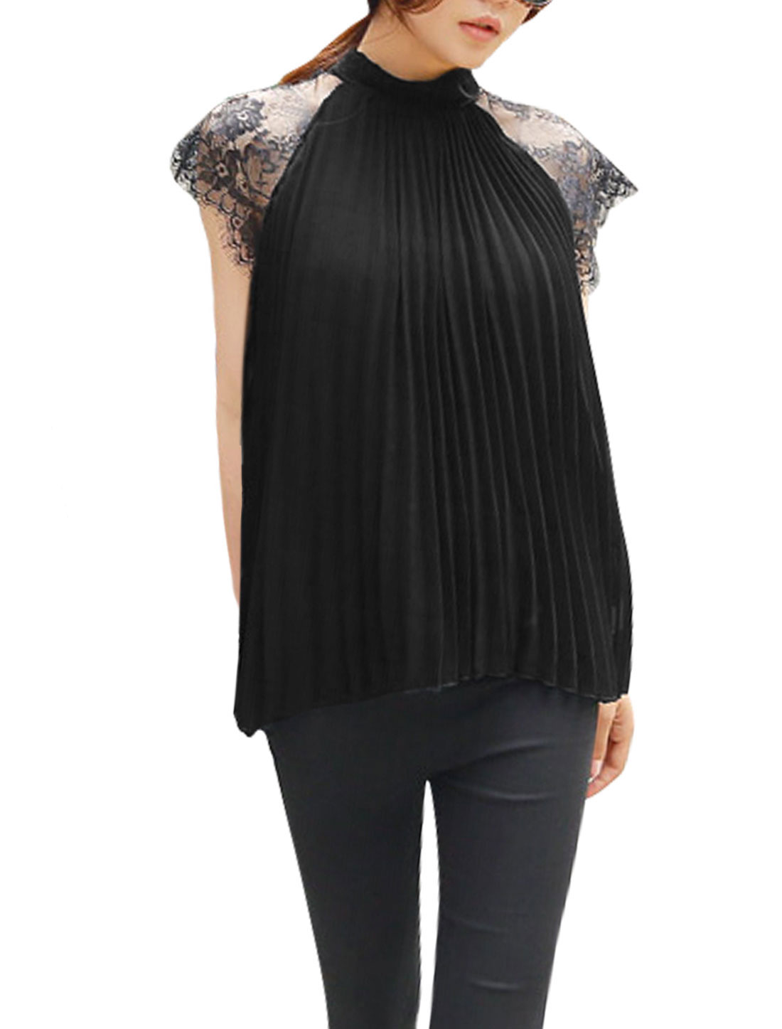 Women Eyelash Lace Panel Stand Collar Raglan Sleeves Pleated Chiffon Top Black XS