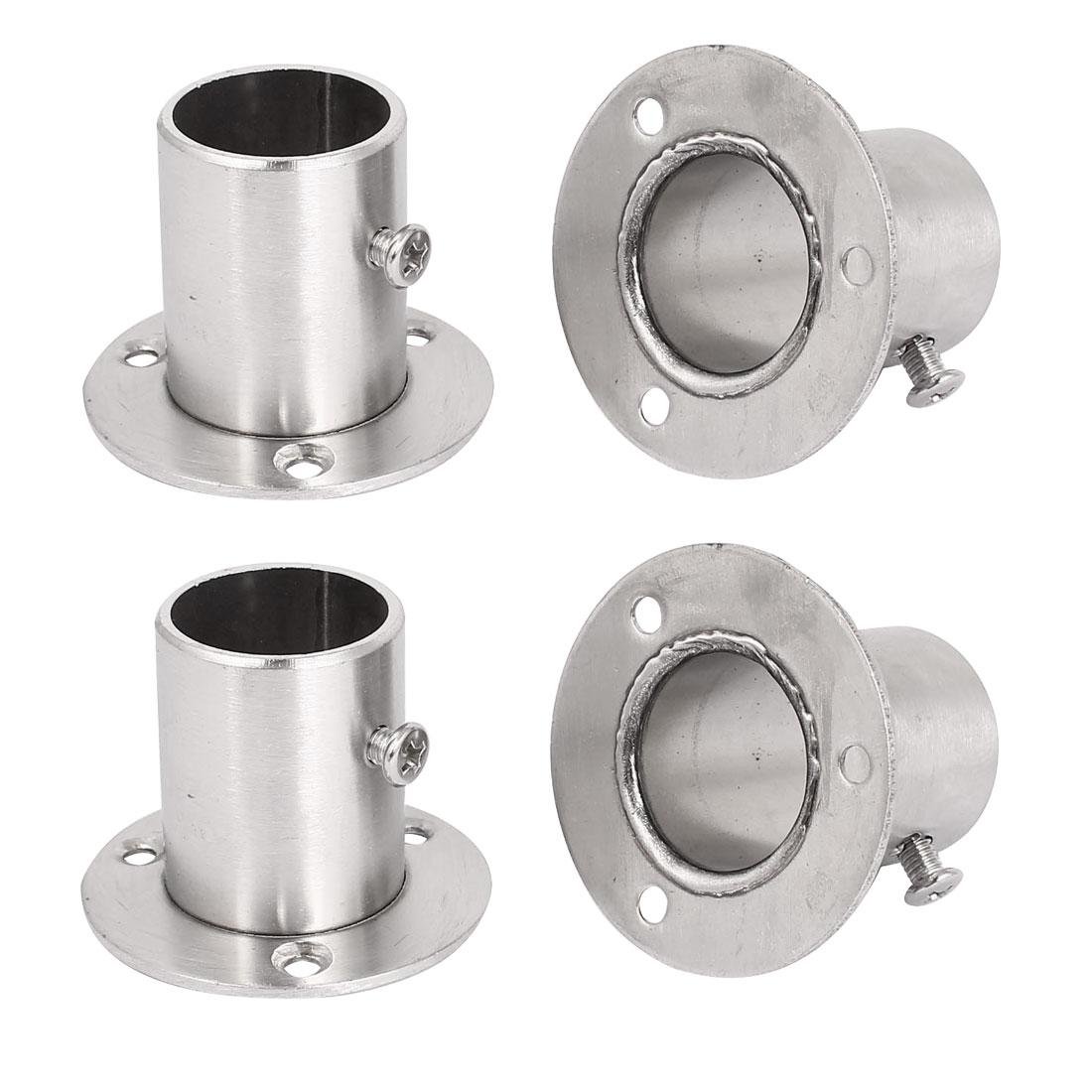 4pcs Wardrobe Stainless Steel Rail Rod End Support Bracket Socket for 25mm Tube