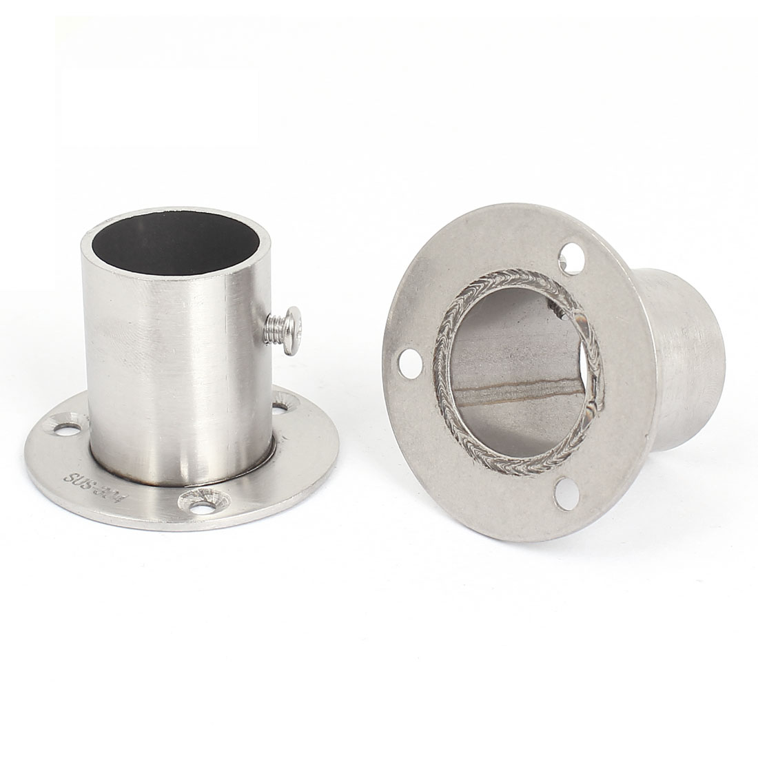 2pcs Wardrobe Stainless Steel Rail Rod End Support Bracket Socket for 25mm Tube