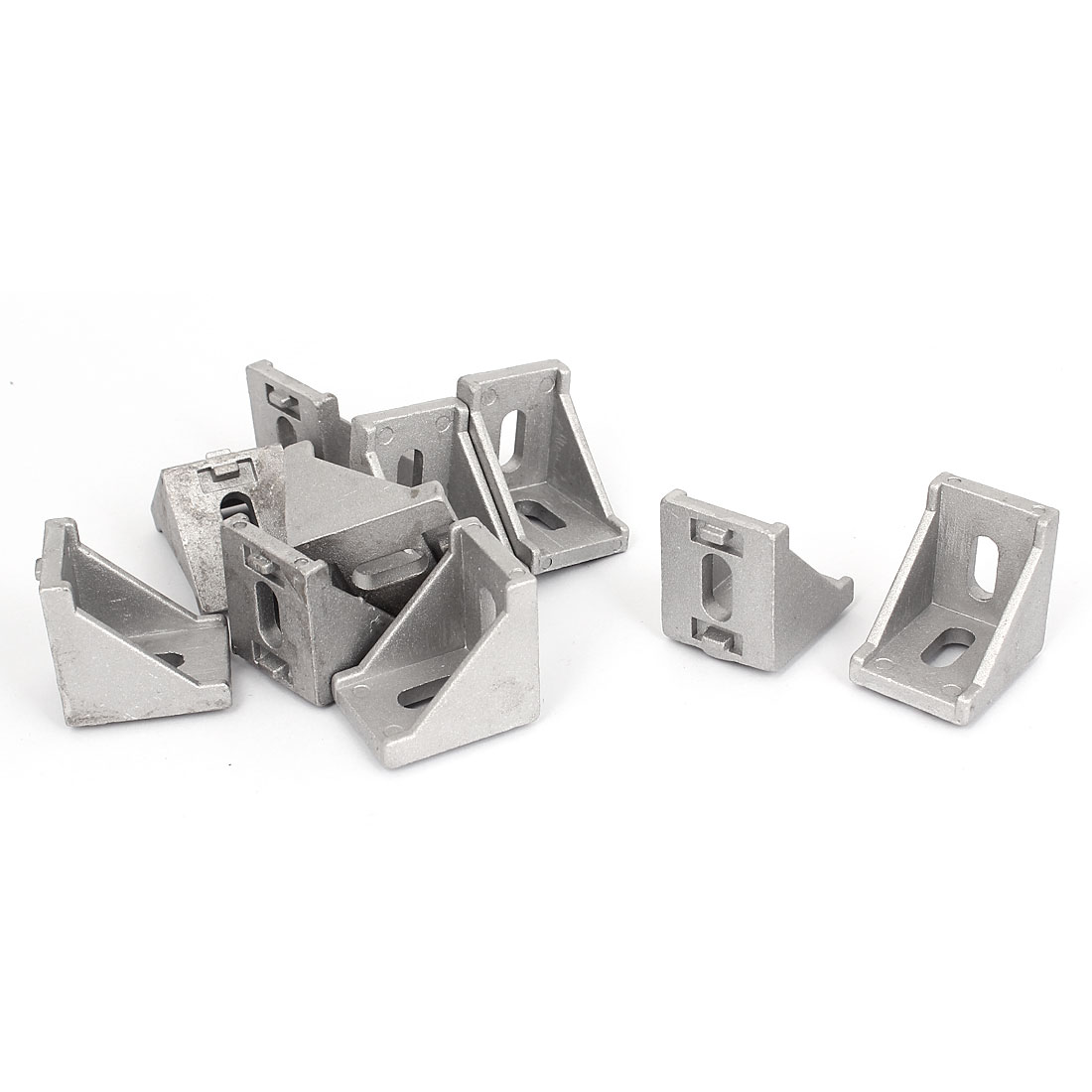 10 Pcs Silver Tone Metal L Shaped Corner Brace Angle Bracket 35mm x 35mm
