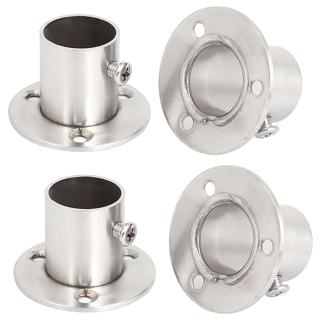 4pcs Wardrobe Stainless Steel Rail Rod End Support Bracket Socket for 22mm Tube