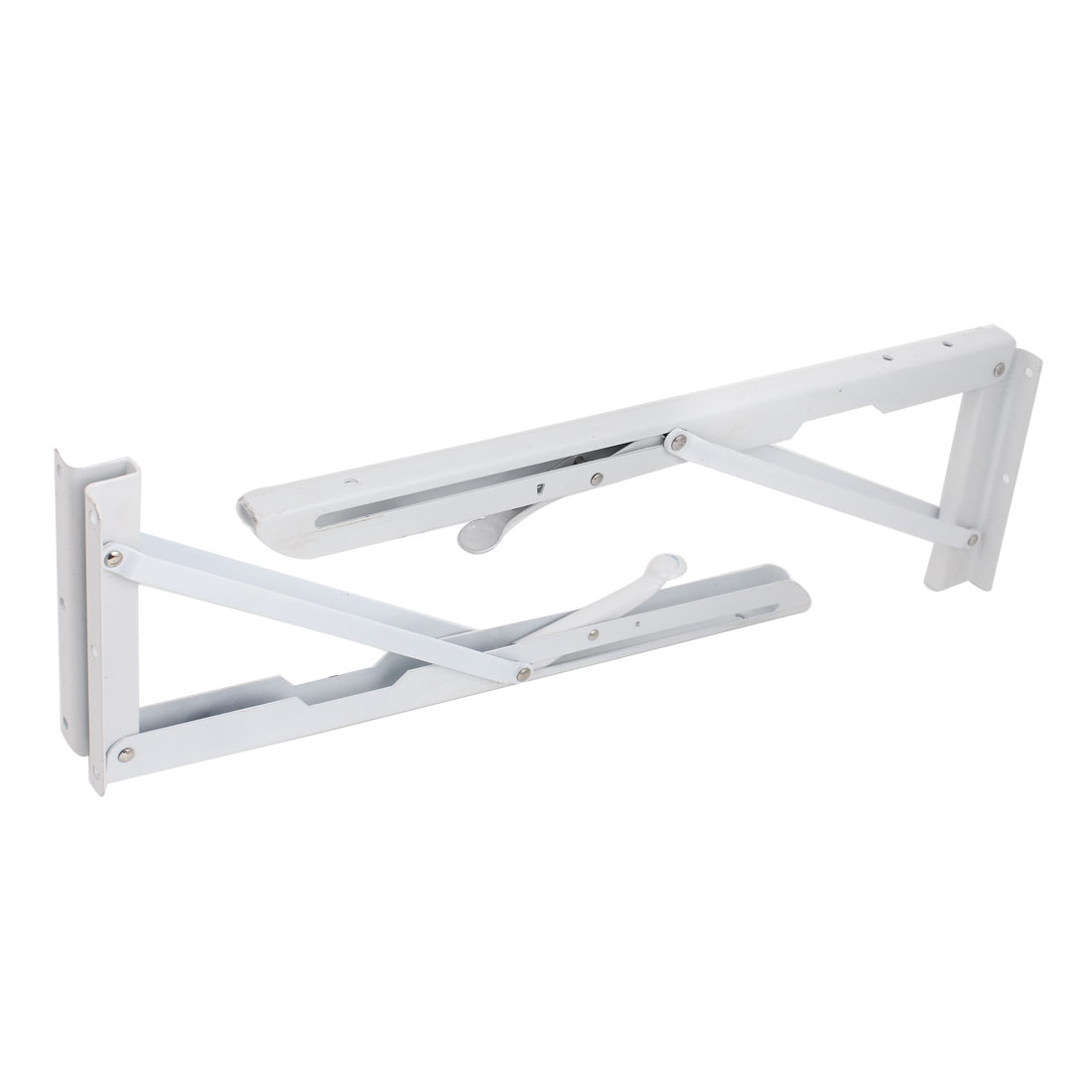 2pcs 40cmx15cm White Metal Long Release Arm Holder Folding Shelf Bracket Support