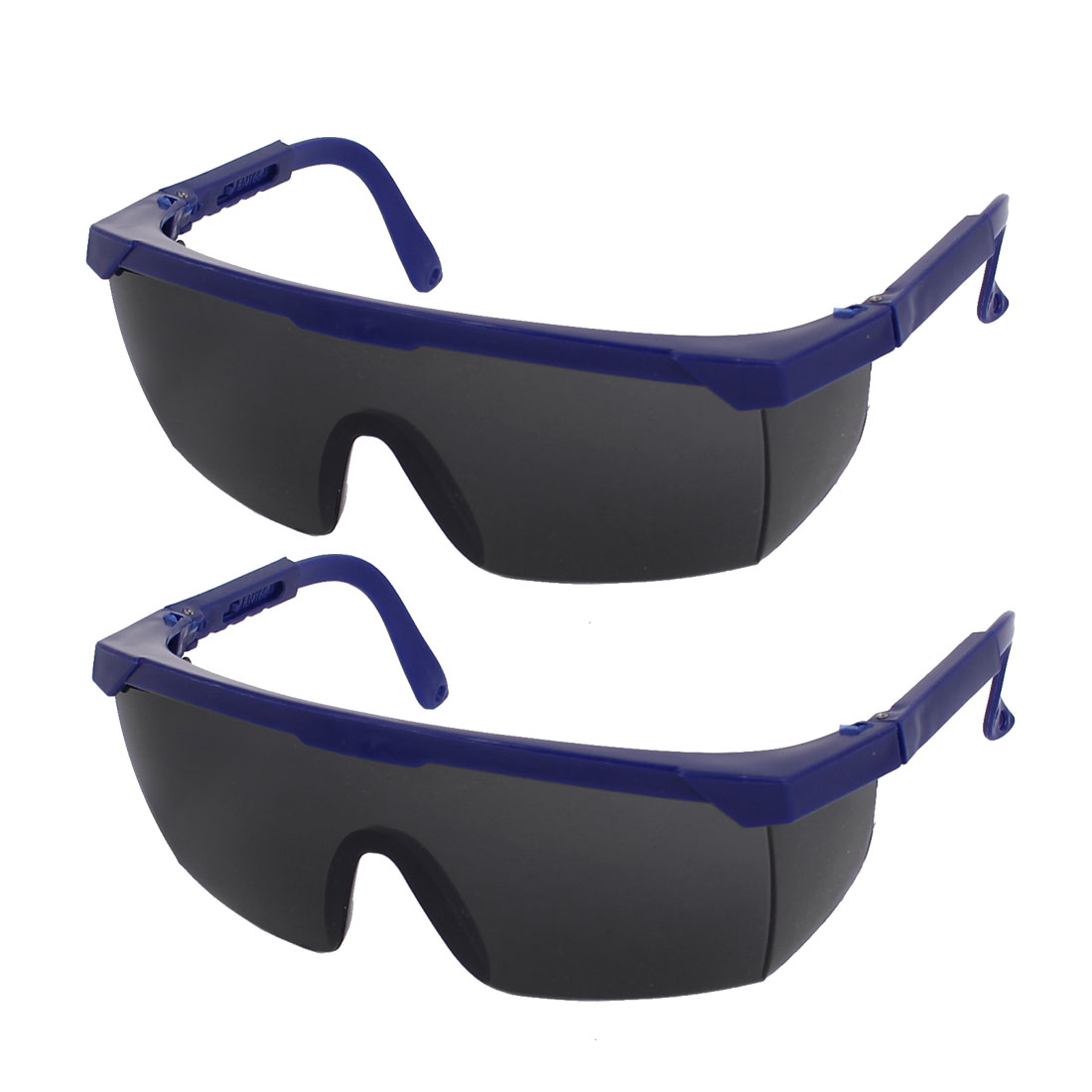 Blue Plastic Half Frame Gray Lens Adjustable Arms Welding Glasses Goggles 2 Pcs