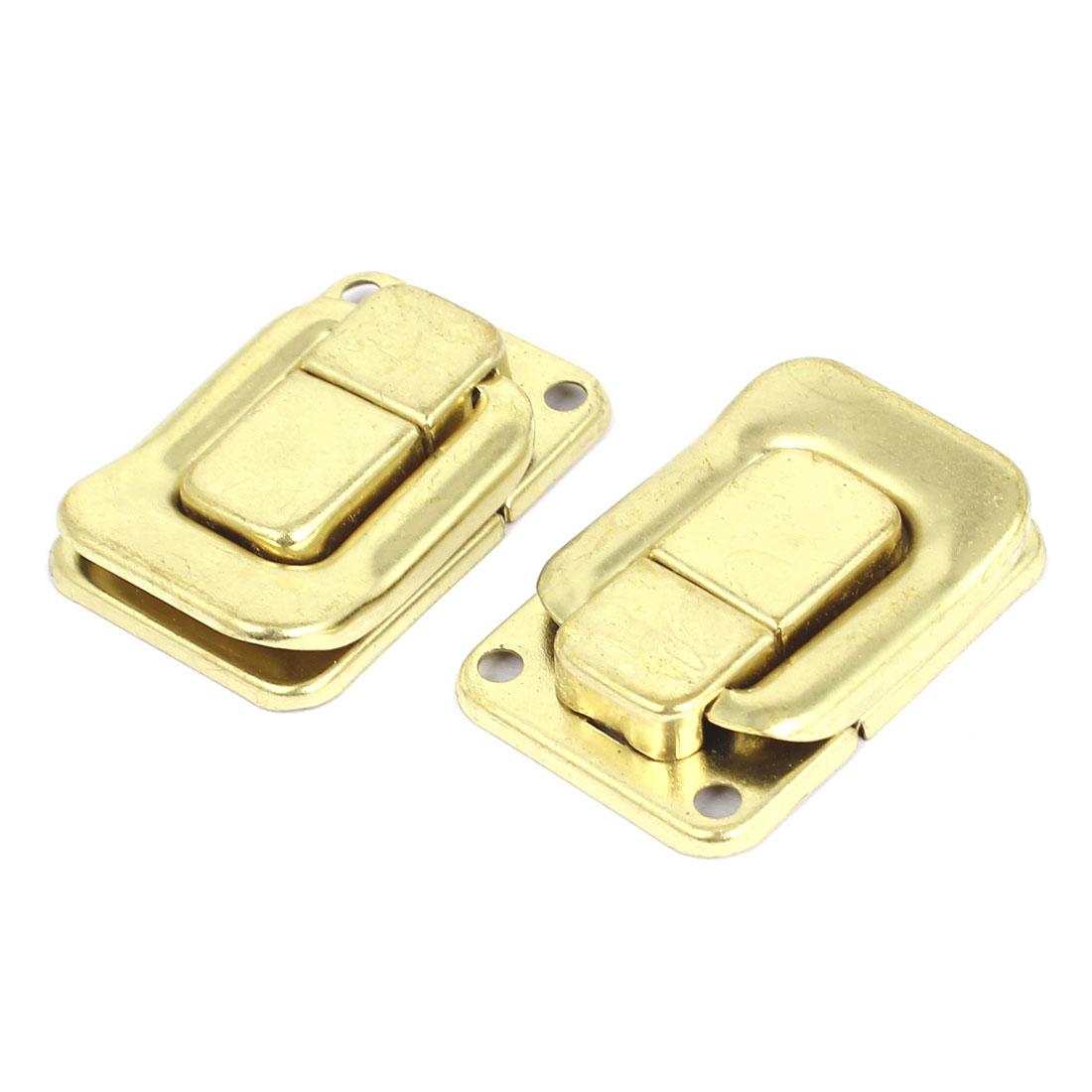2 Pcs Gold Tone Toggle Latch Catch Chest Flight Case Suitcase Box Clasps 40x27mm