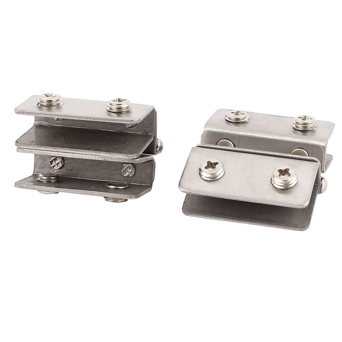8mm Thickness Rectangle Shaped Glass Clip Clamp Silver Tone 2pcs