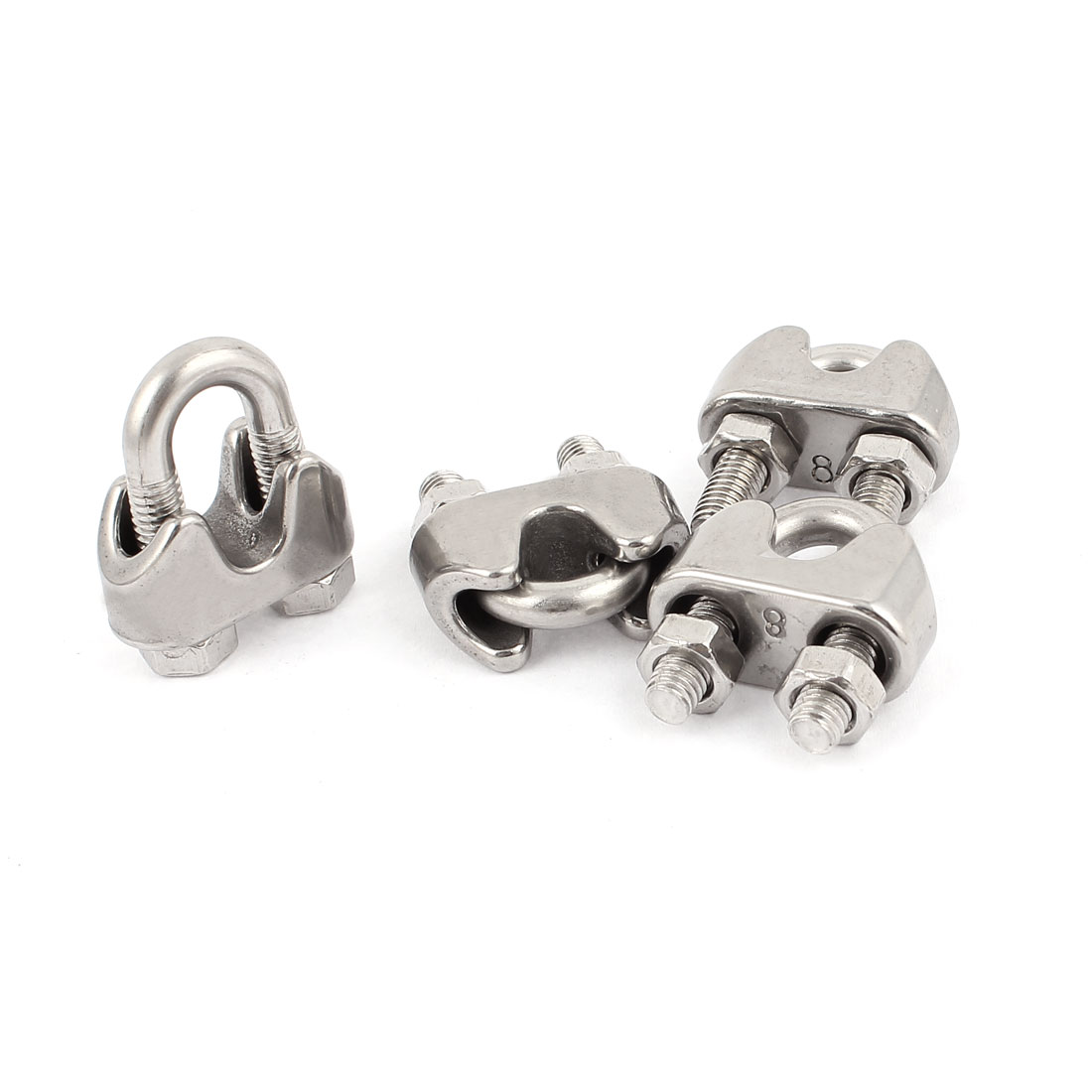 """8mm 5/16"""" Stainless Steel Wire Rope Cable Clamp Clips 4pcs"""