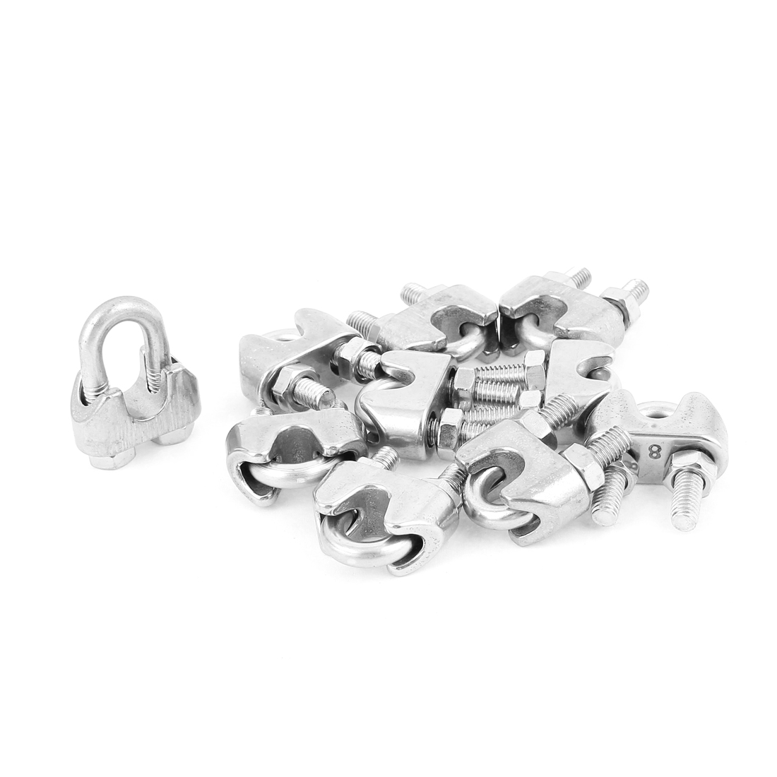 "8mm 5/16"" Stainless Steel Wire Rope Cable Clamp Clips 10pcs"
