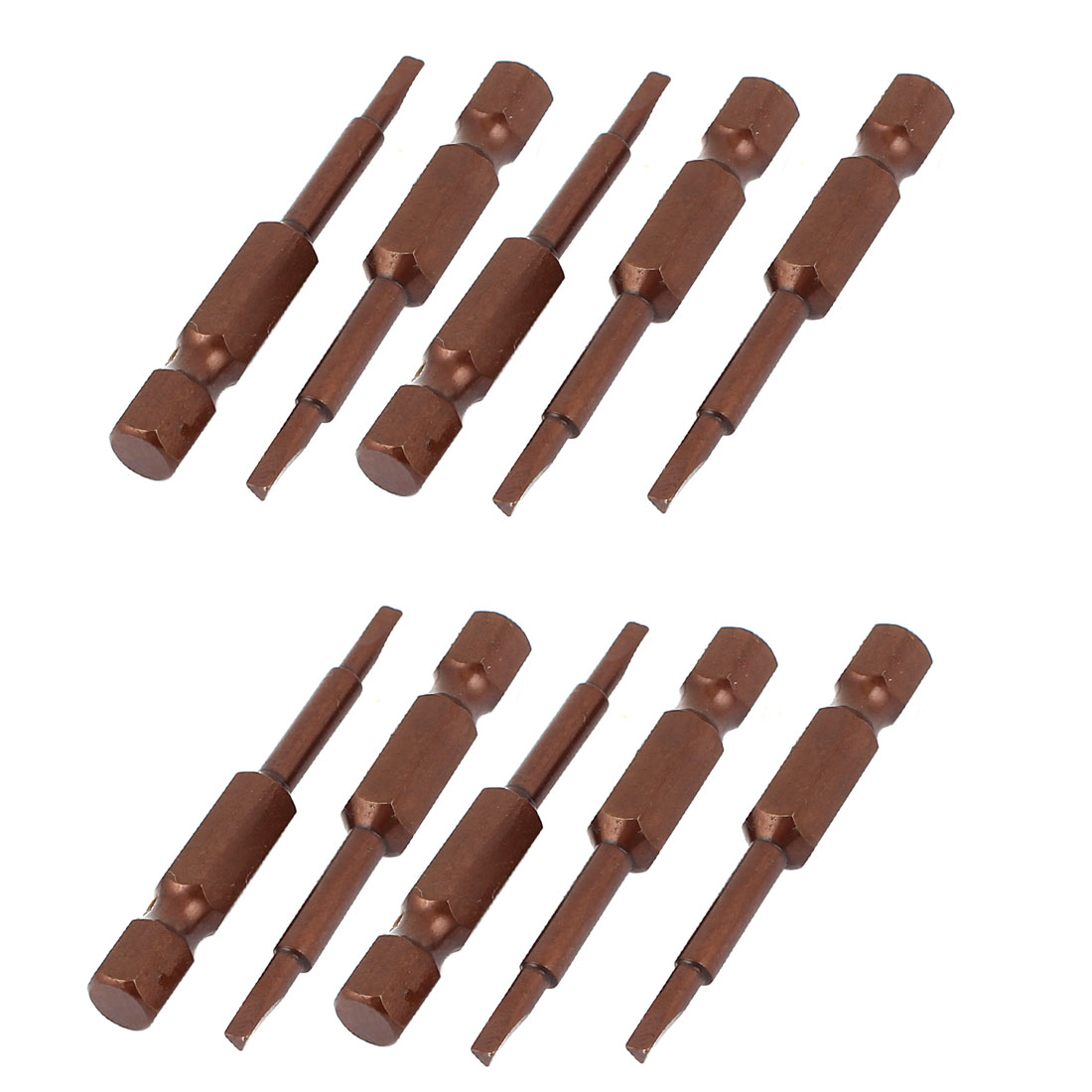"10Pcs 1/4"" Hex Shank 2mm Magnetic Tip Triangle Screwdriver Bits 50mm Length"