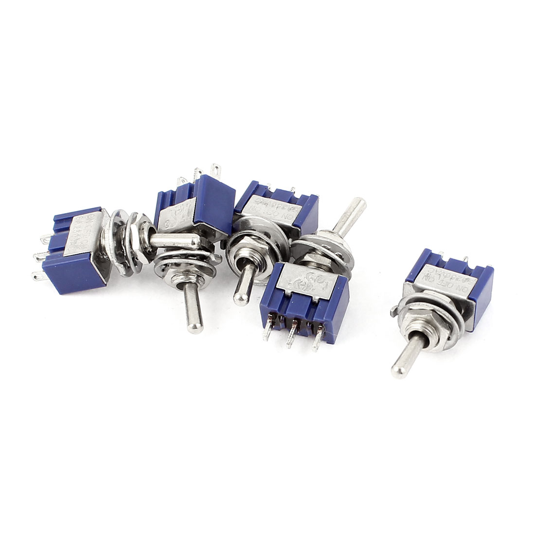 5 Pcs AC 250V 6A SPDT ON-OFF-ON 3 Pin Latching Miniature Toggle Switch