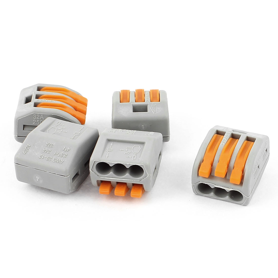 5 Pcs AC 250V 32A Fast Cable Push in 3 Port Building Wire Connector Safe Terminal Block