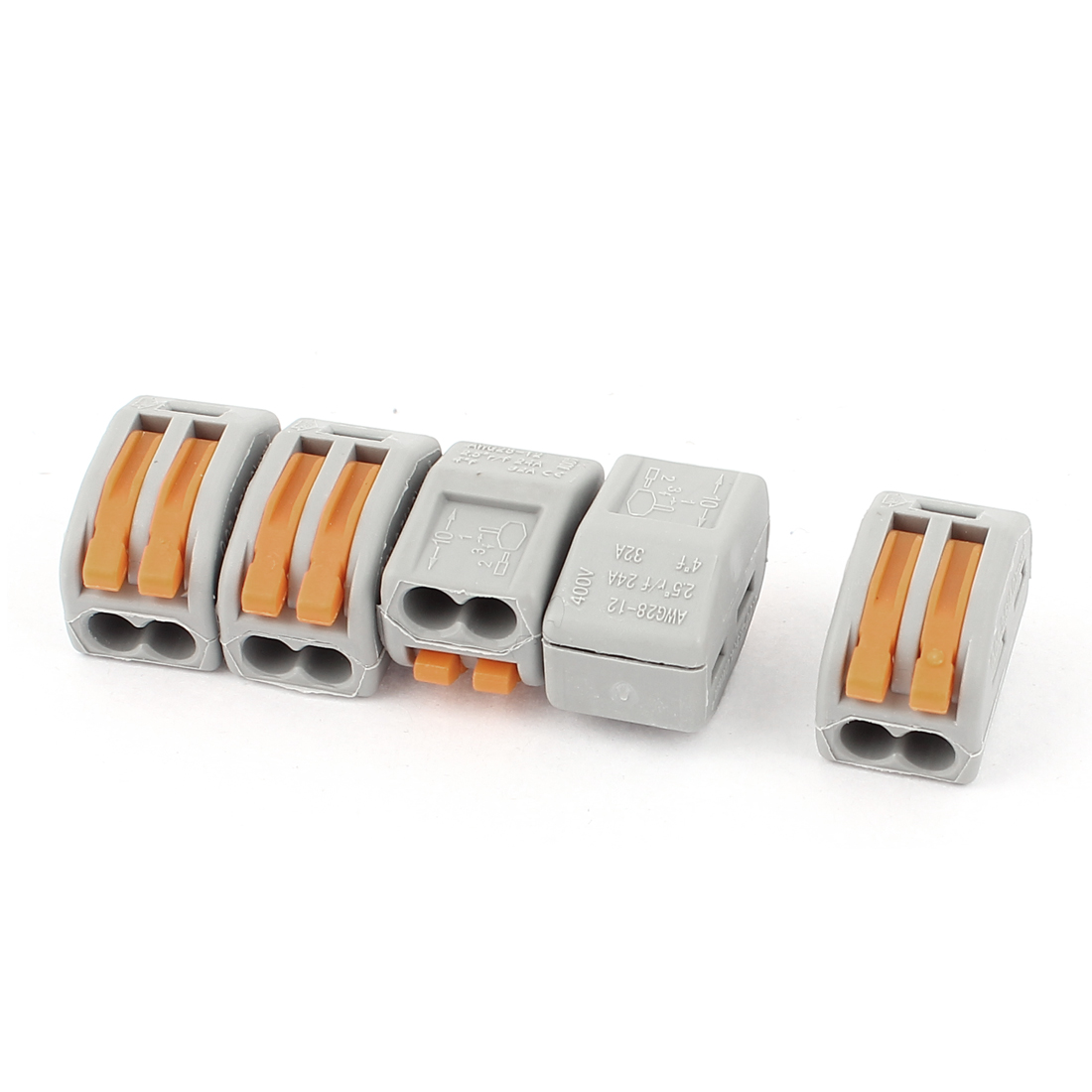 5 Pcs AC 250V 32A Fast Cable Push in 2 Port Building Wire Connector Safe Terminal Block
