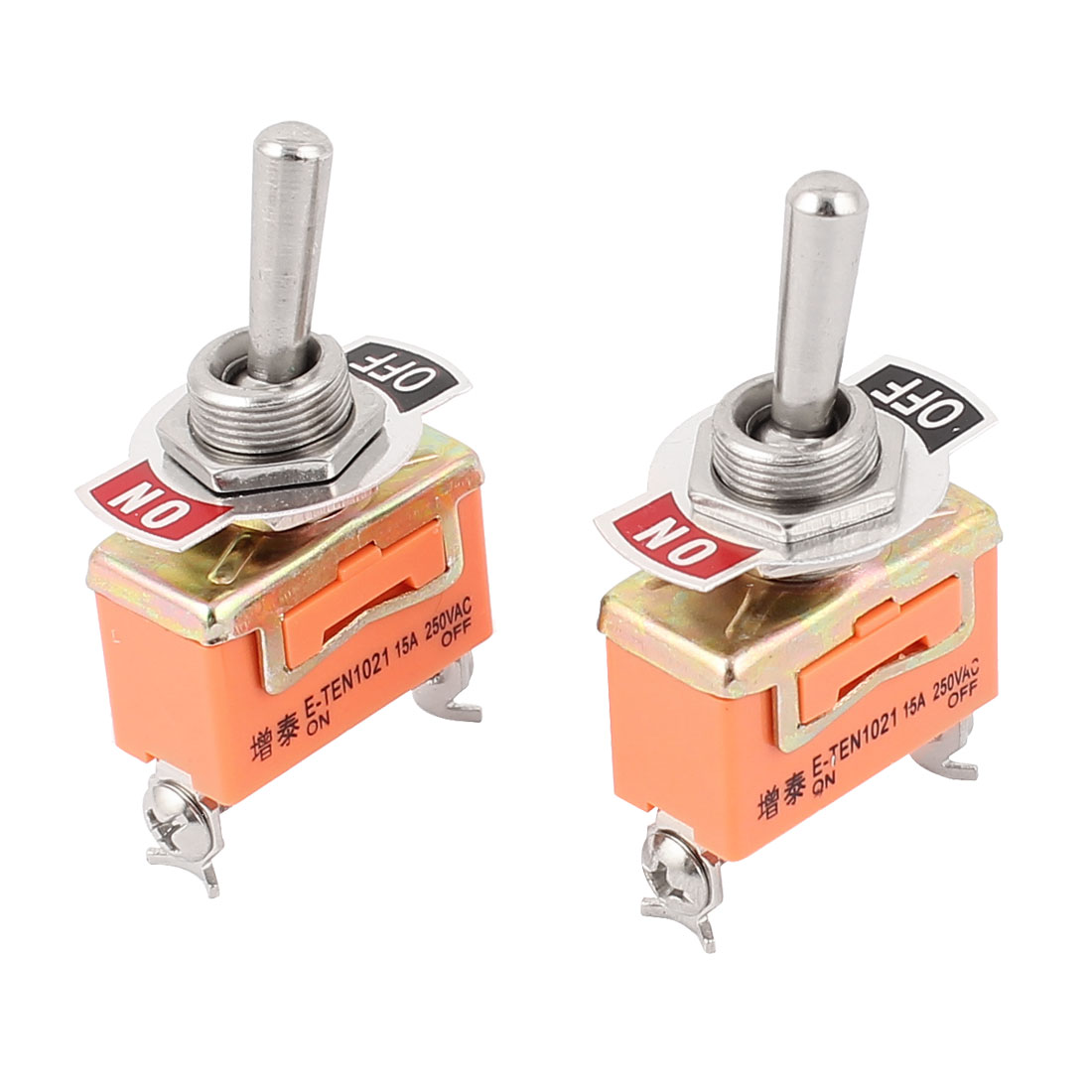 AC 250V 15A SPST ON-OFF 2 Pin Latching Miniature Toggle Switch 2Pcs