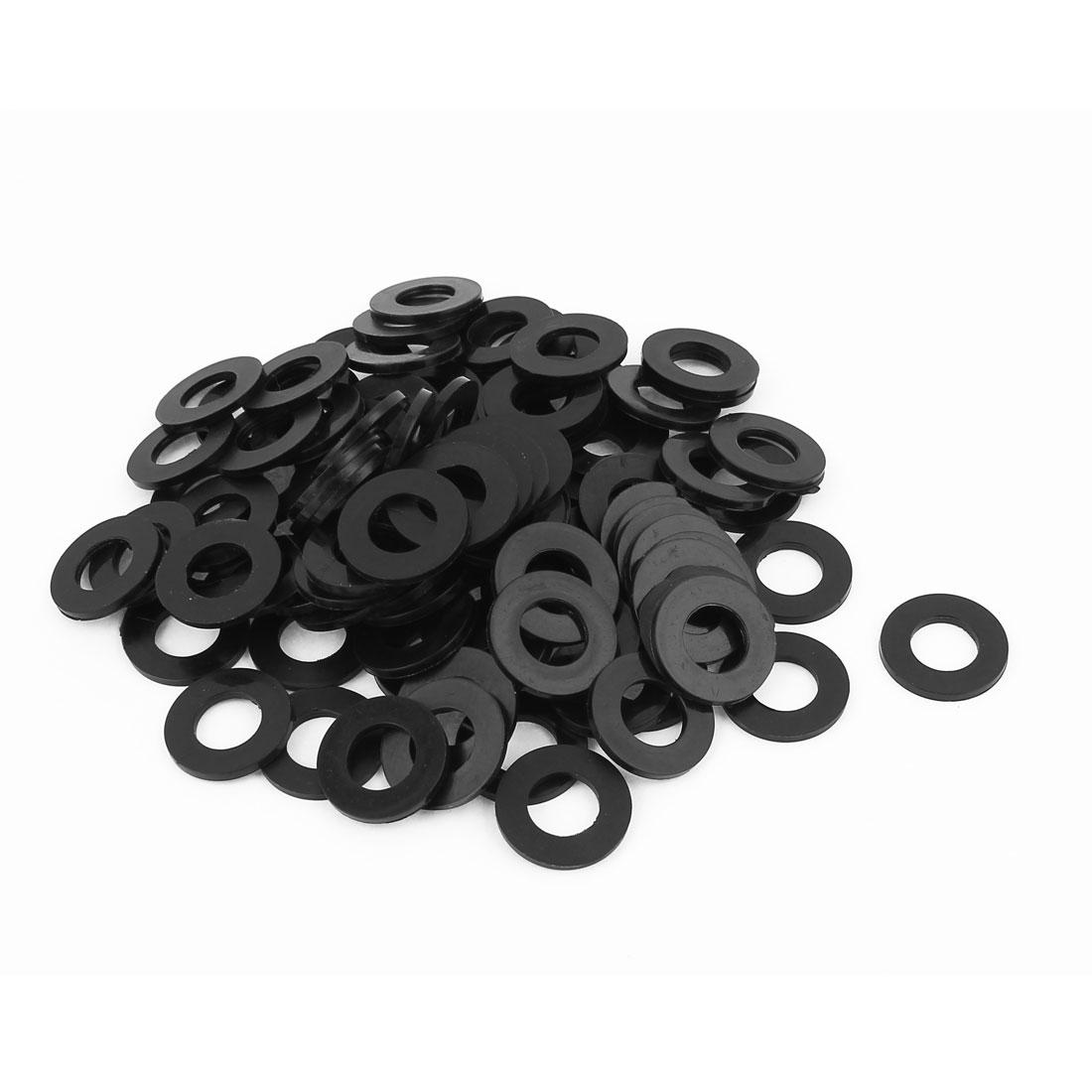100 Pcs M12x24mmx2mm Plastic Round Flat Washer Gasket Seal Ring Black