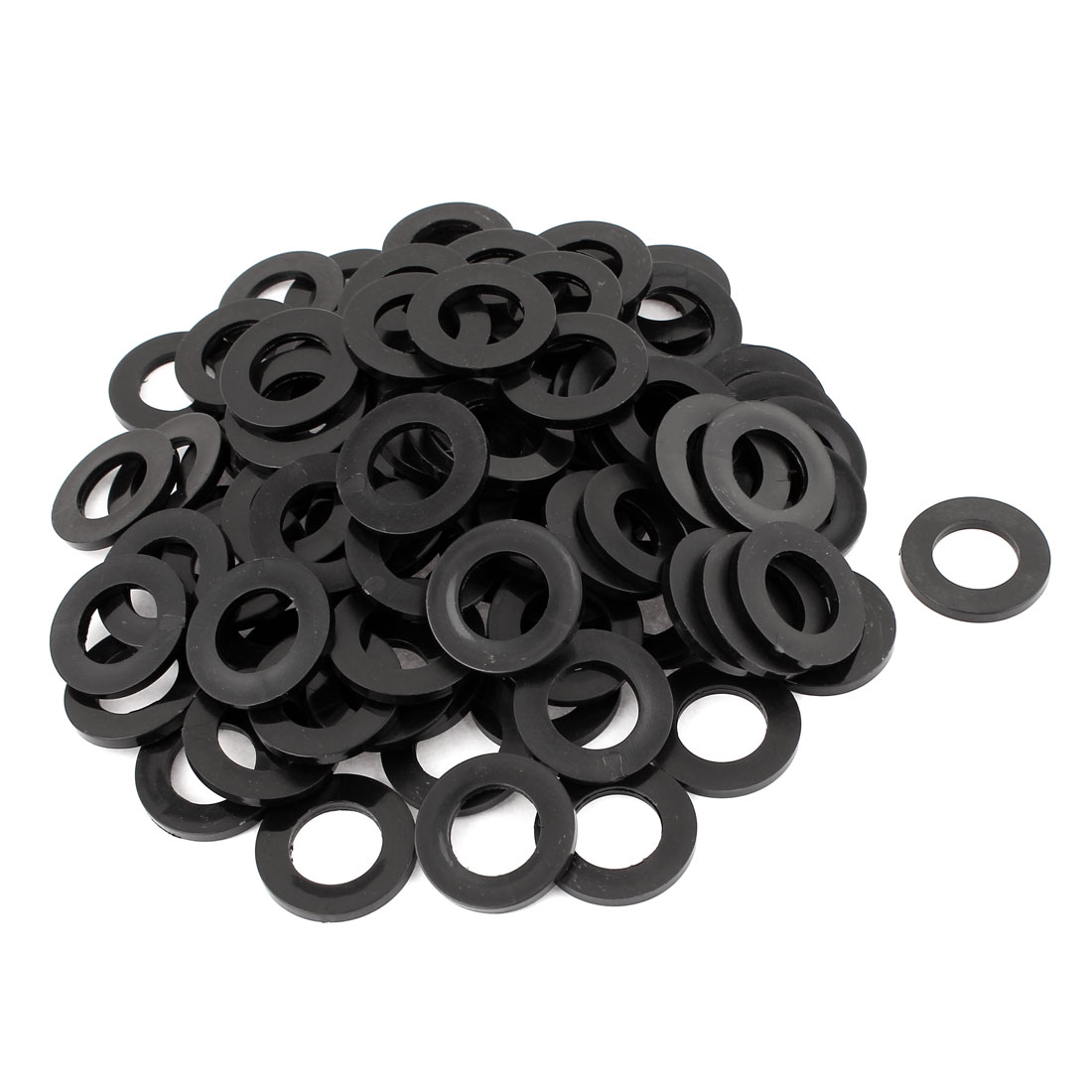 100 Pcs M18x32mmx3mm Plastic Round Flat Washer Gasket Seal Ring Black
