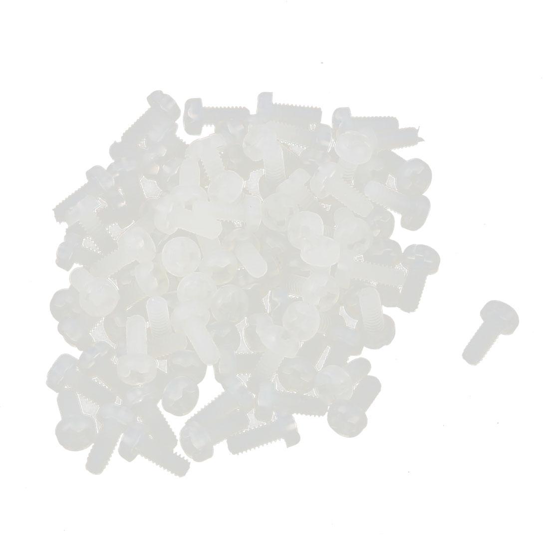 M2 x 5mm Nylon Phillips Cross Pan Head Machine Screws White 50 PCS