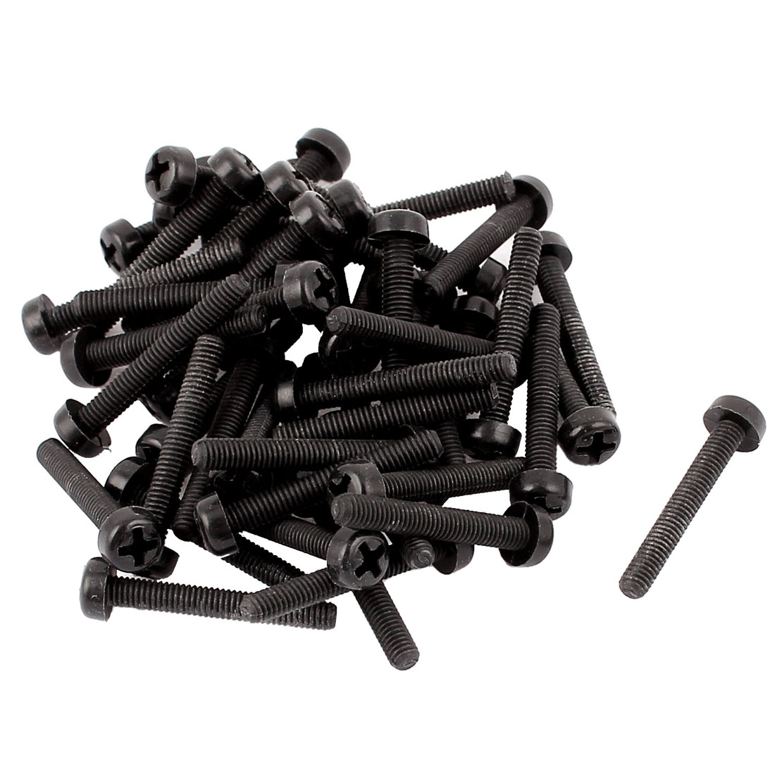 M3 x 20mm Nylon Phillips Cross Pan Head Machine Screws Black 50 PCS