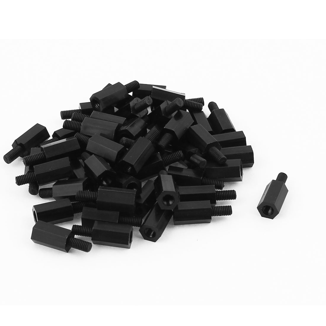 PCB Machine Board Nylon Insulating Hex Nut Hexagonal Thread Spacer M3x10mmx6mm 50pcs
