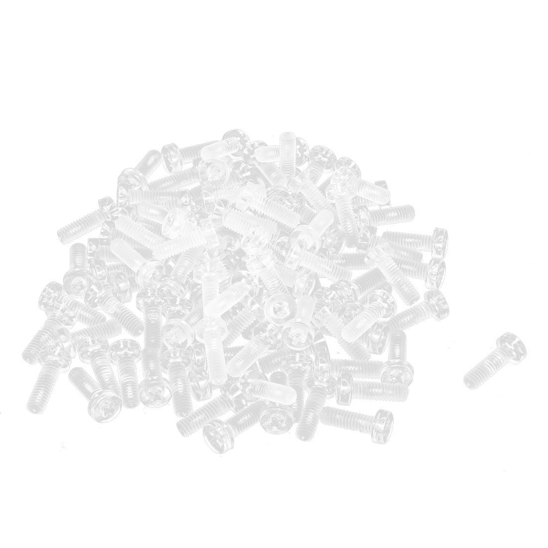 100pcs M4 x 12mm Plastic Phillips Cross Head Machine Screws Clear