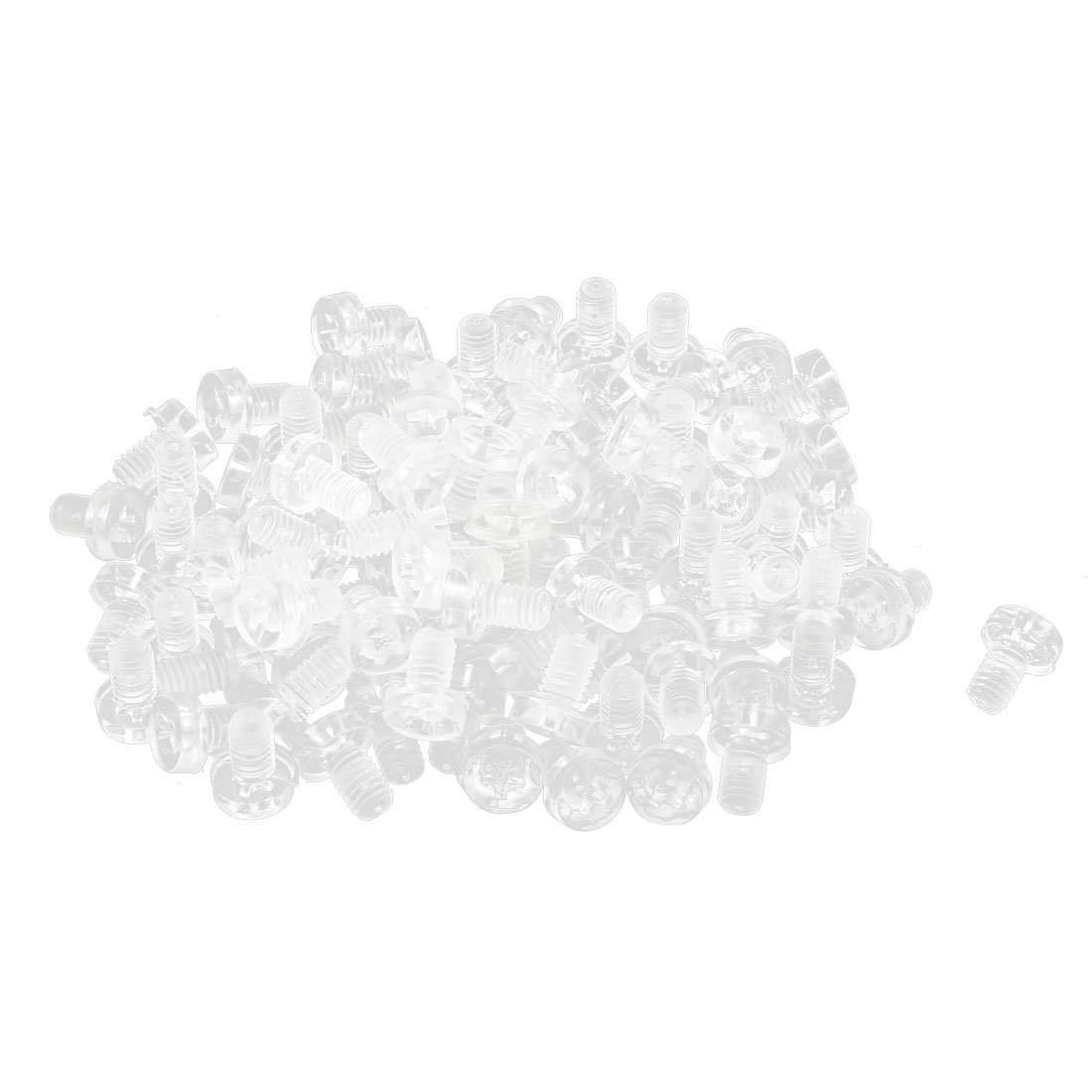 100pcs M4 x 6mm Plastic Phillips Cross Head Machine Screws Clear
